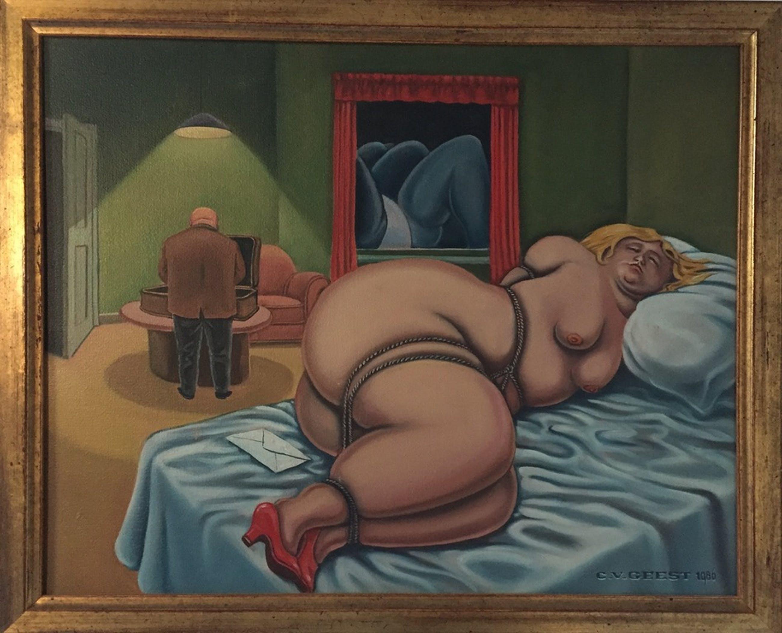 Chris van Geest, olieverf op doek, erotisch werk uit 1986. kopen? Bied vanaf 1000!