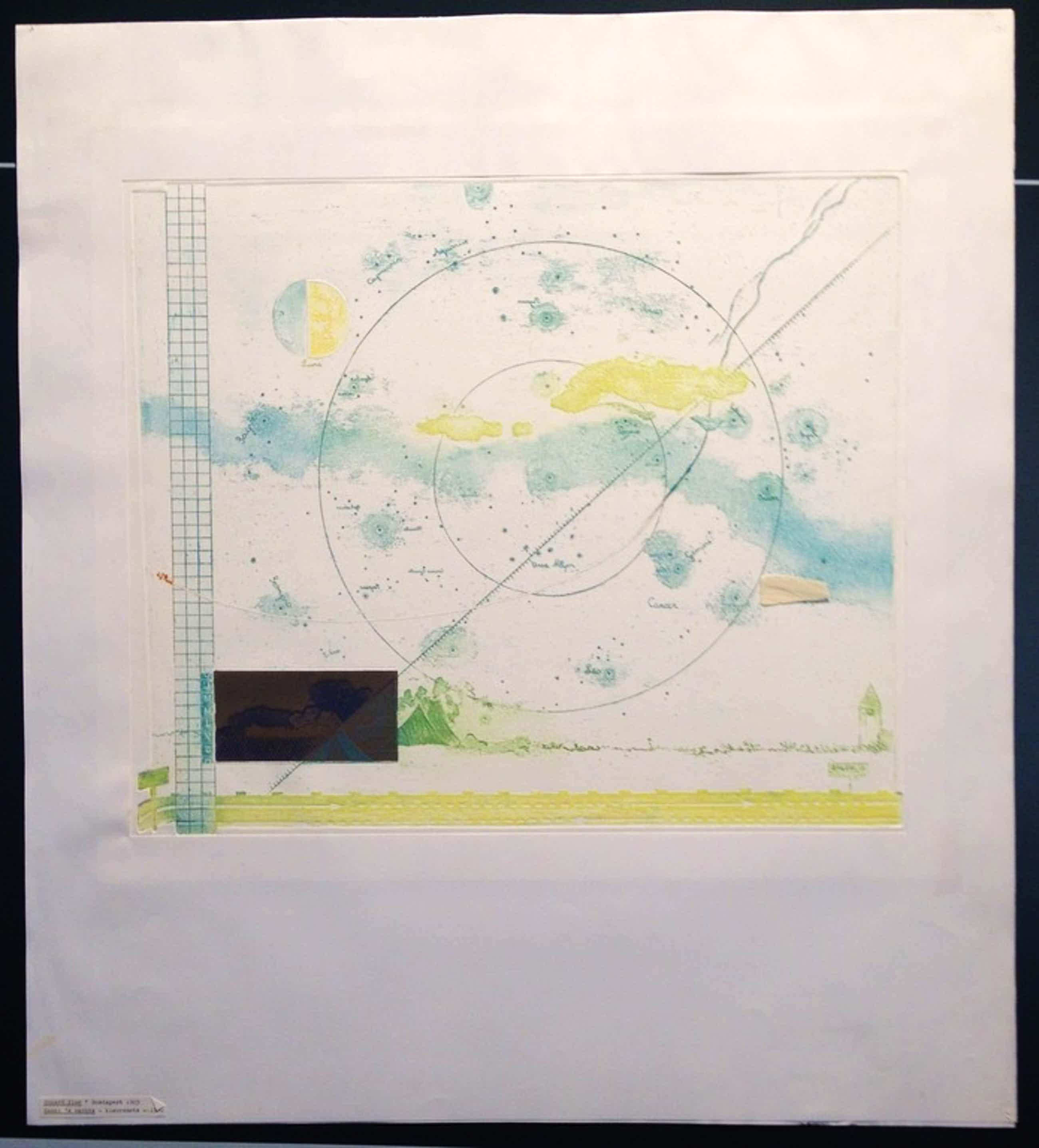 """Eduard Flor, kleurenets, """"Hemel 's Nachts"""", 1970, Prent 190 kopen? Bied vanaf 49!"""