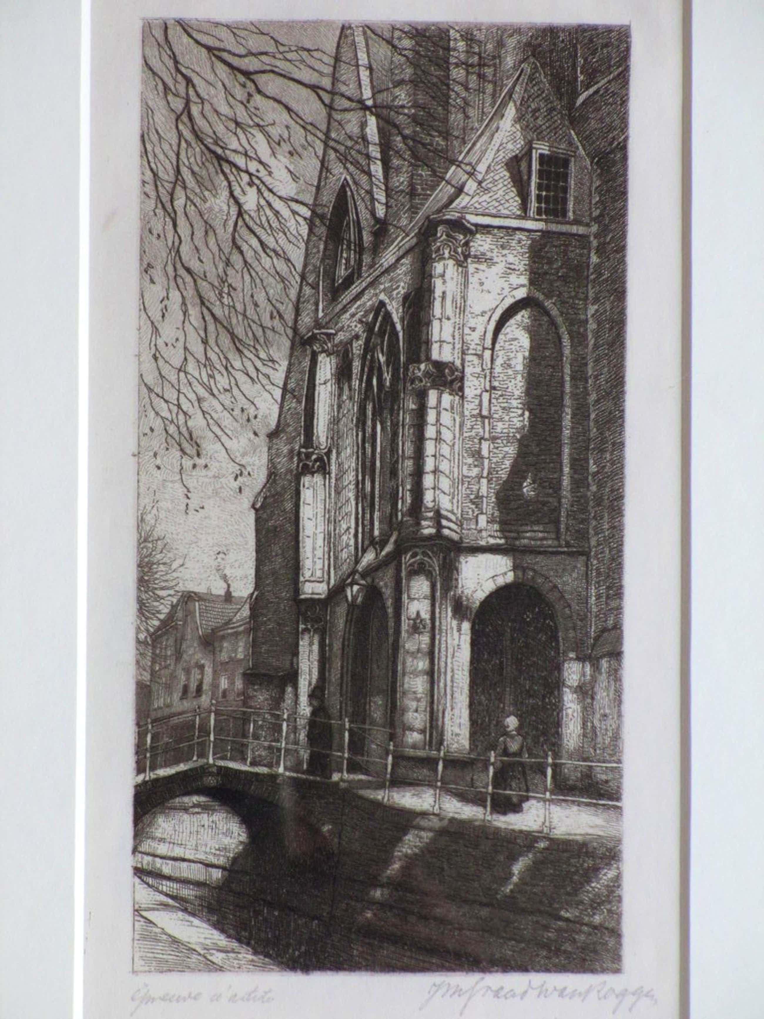 J.Graadt van Roggen, Portiek van de Oude Kerk in Delft, Ets kopen? Bied vanaf 50!