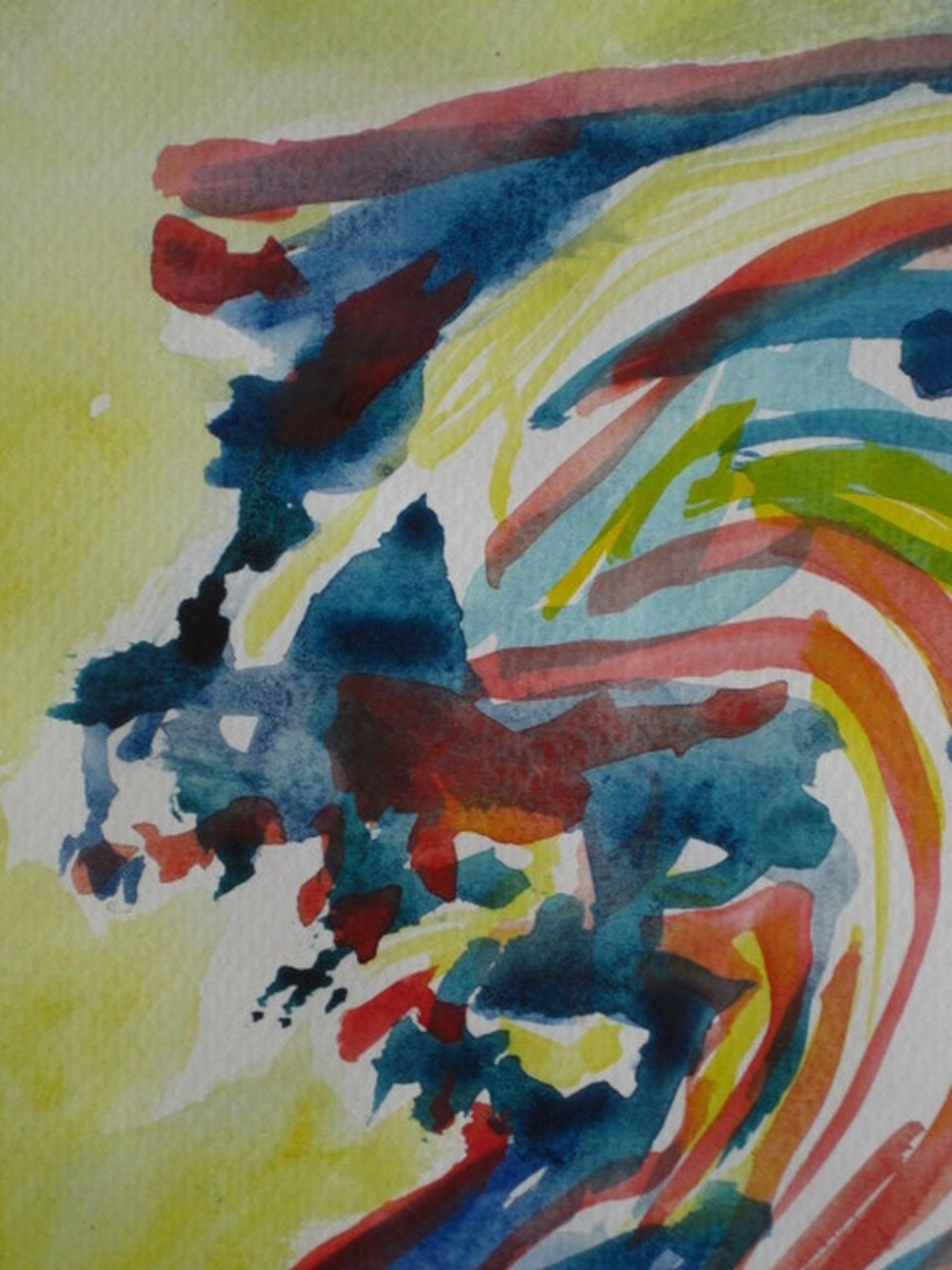"""Deense Neo-Cobra kunstenaar Finn Pedersen (1944-) aquarel """"figuur"""" gesigneerd  kopen? Bied vanaf 1!"""