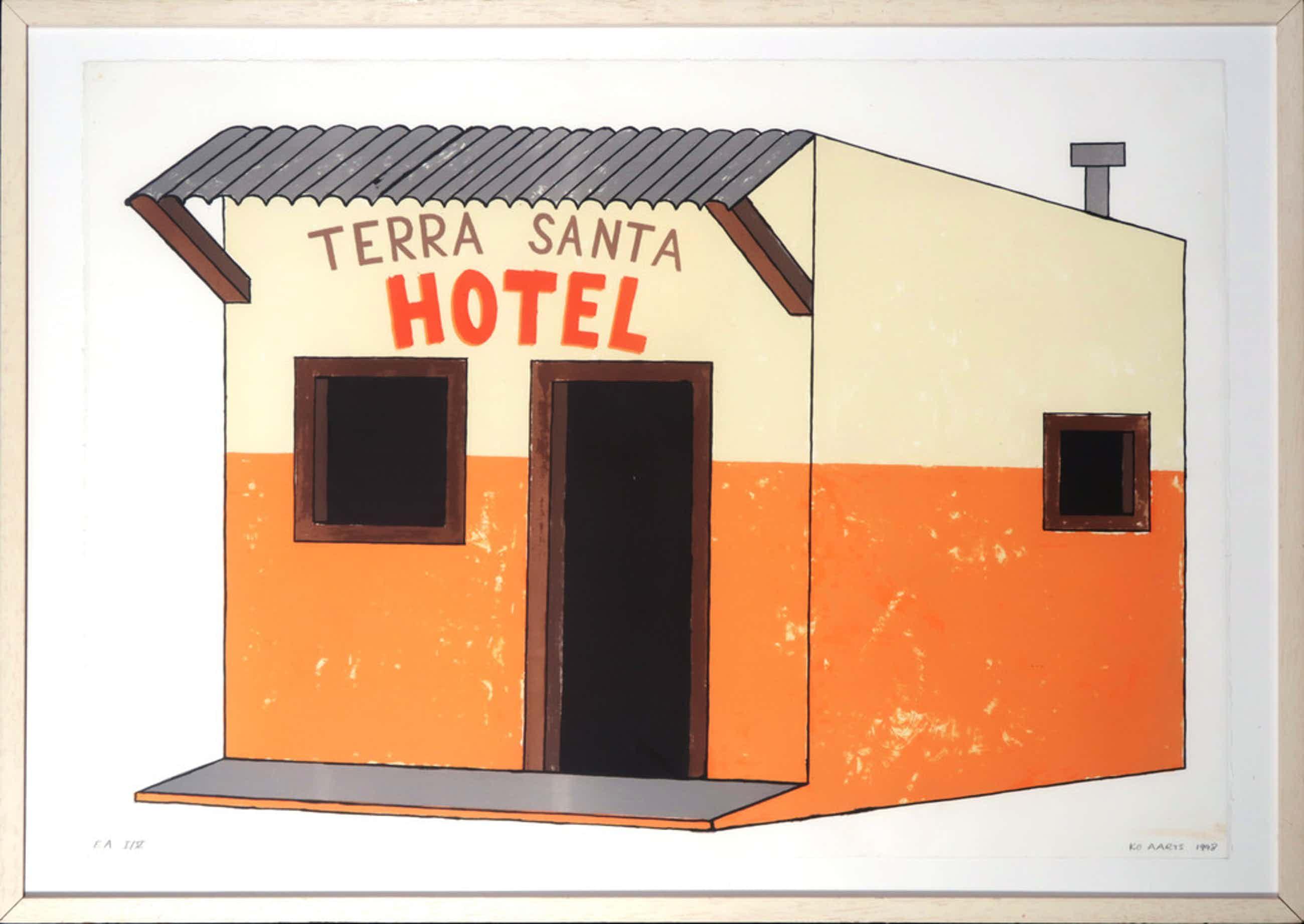Ko Aarts: Zeefdruk, Terra Santa hotel - Ingelijst kopen? Bied vanaf 45!