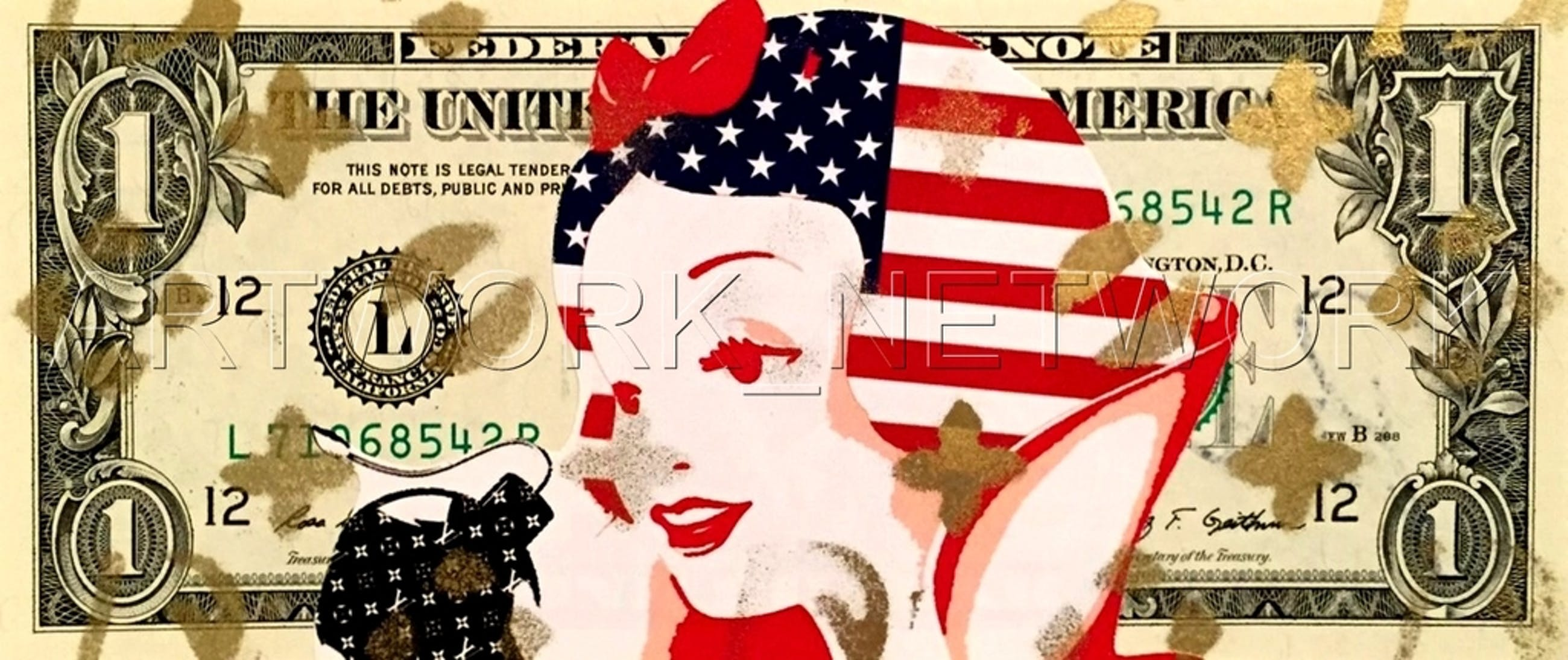 """DEATH NYC """"Red Snow"""" - original Painting on US $1 bill, dated 2013, with COA kopen? Bied vanaf 1!"""