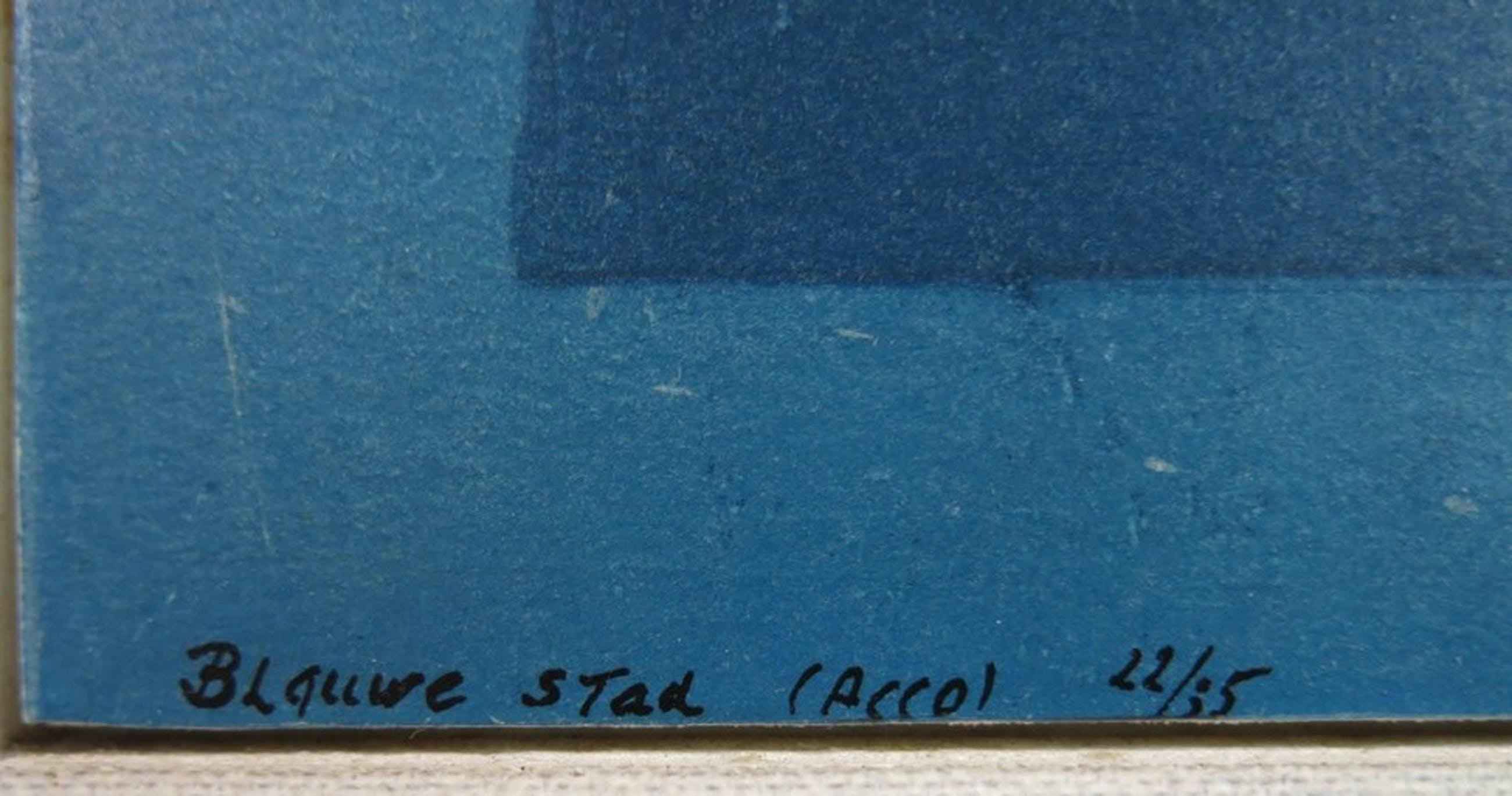 Ru van Rossem: Ets en Reliefdruk op paneel, Blauwe Stad (Acco) - Ingelijst kopen? Bied vanaf 1!