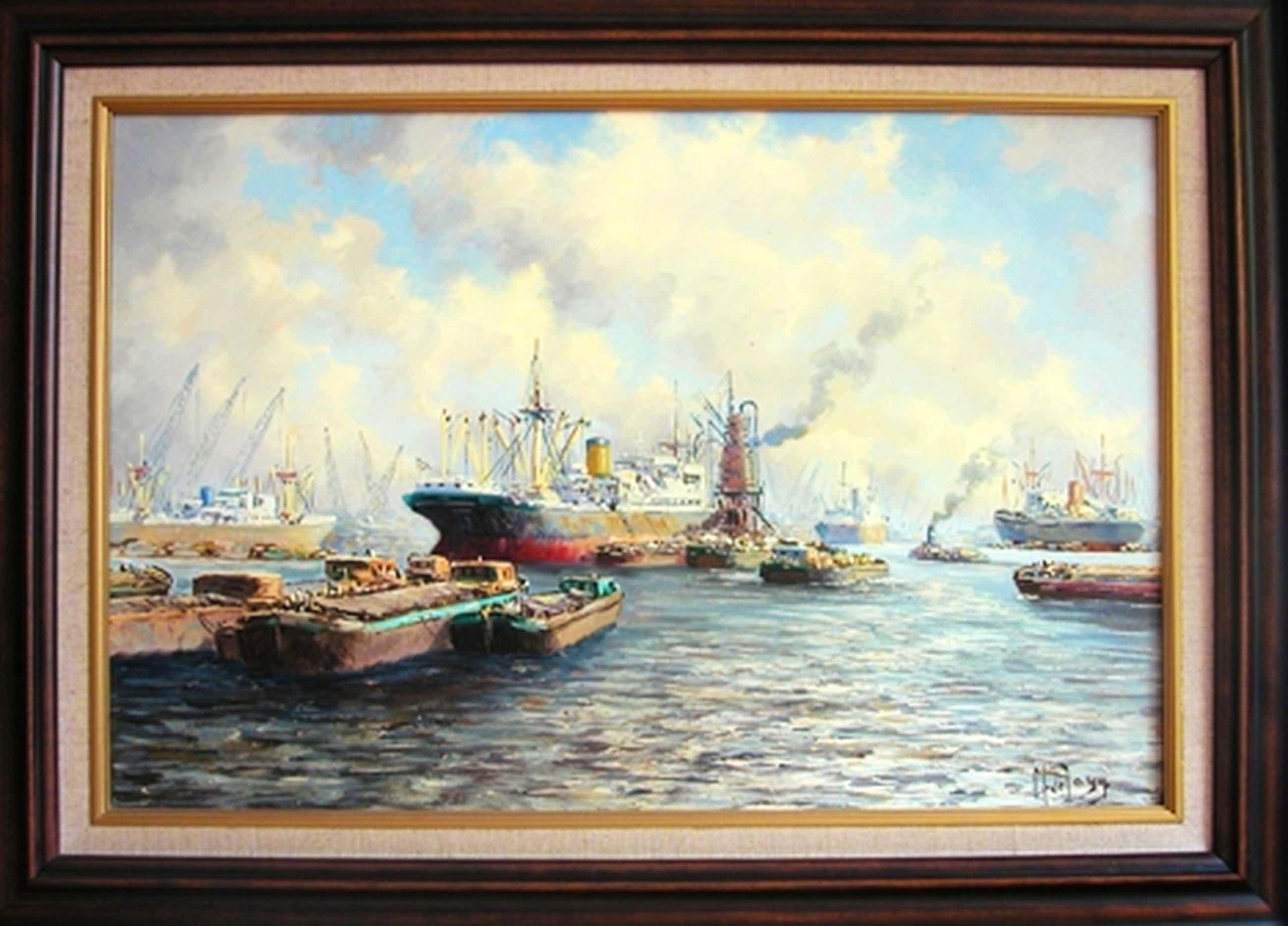 Haven van Rotterdam - olieverf op doek - gesigneerd als M de Jong kopen? Bied vanaf 350!