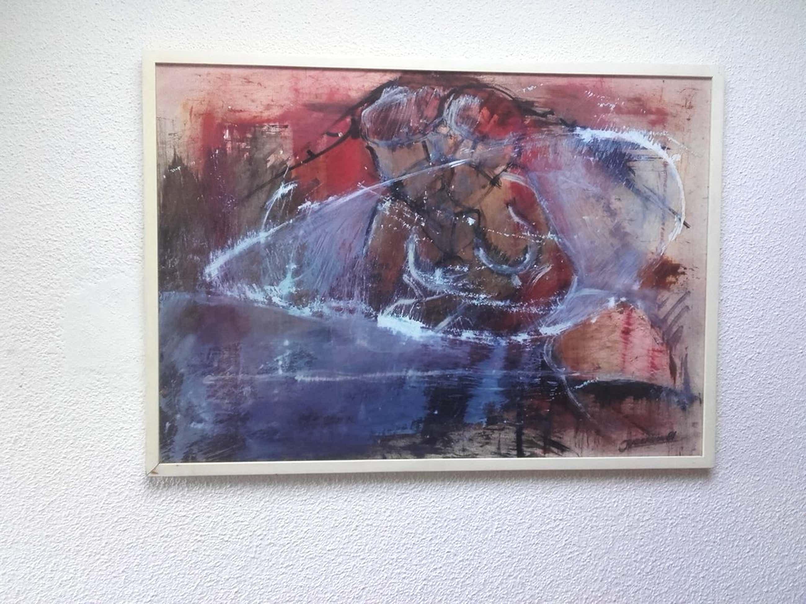 Jan Radersma, olieverfschilderij met krijt, zonder titel, ingelijst kopen? Bied vanaf 39!