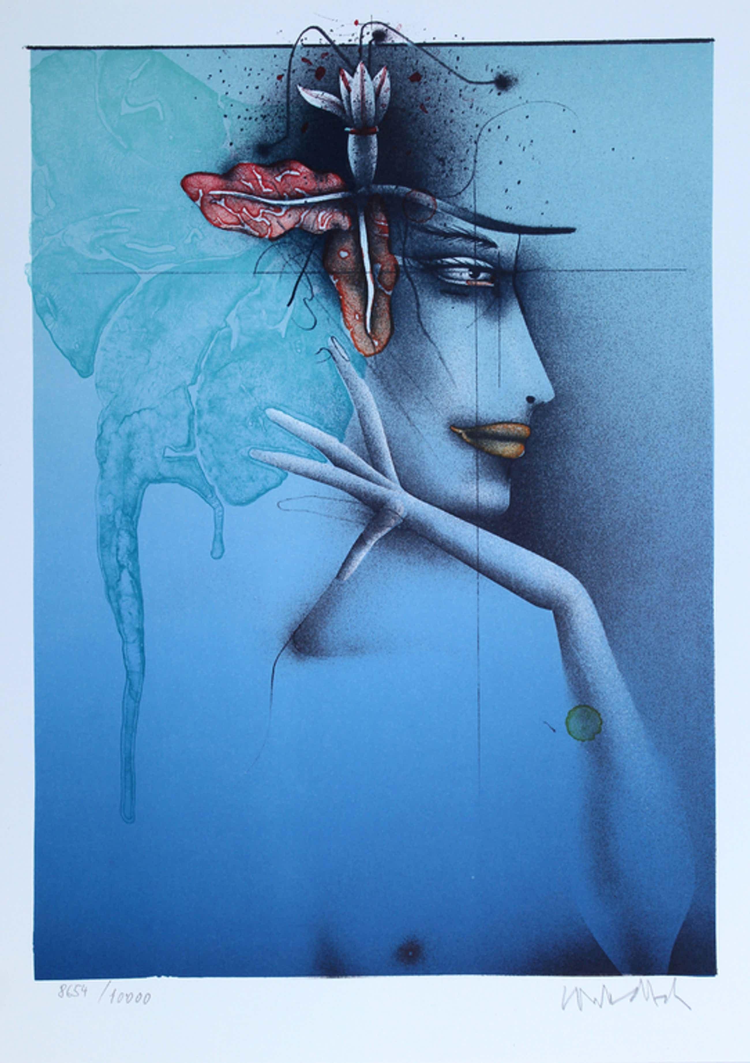 Paul Wunderlich - Lithografie  - Tête d'une femme bleu - gesigneerd - 1982  kopen? Bied vanaf 95!