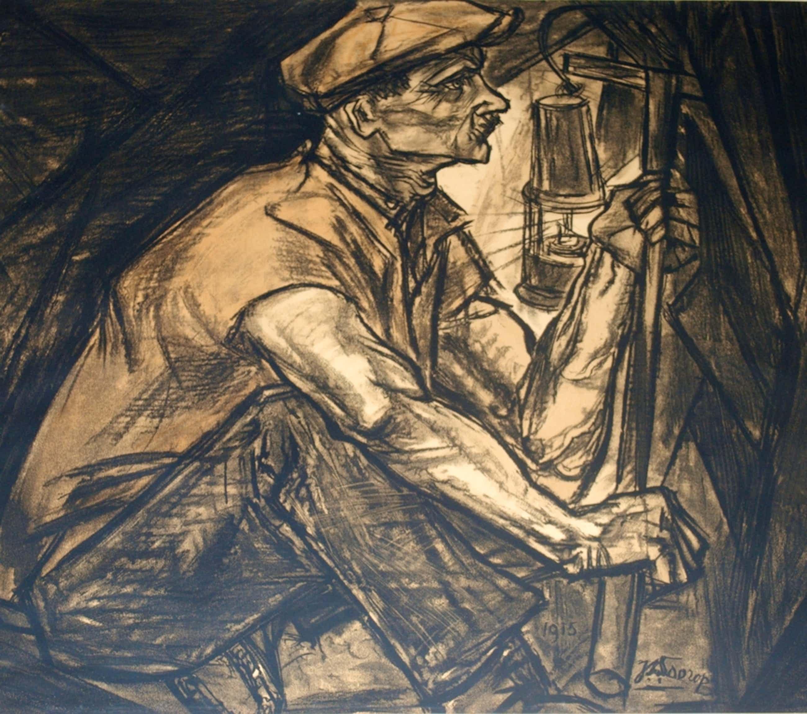 Litho in kleur van een mijnwerker- izgst - 1915 - groot: 63x70 cm kopen? Bied vanaf 115!