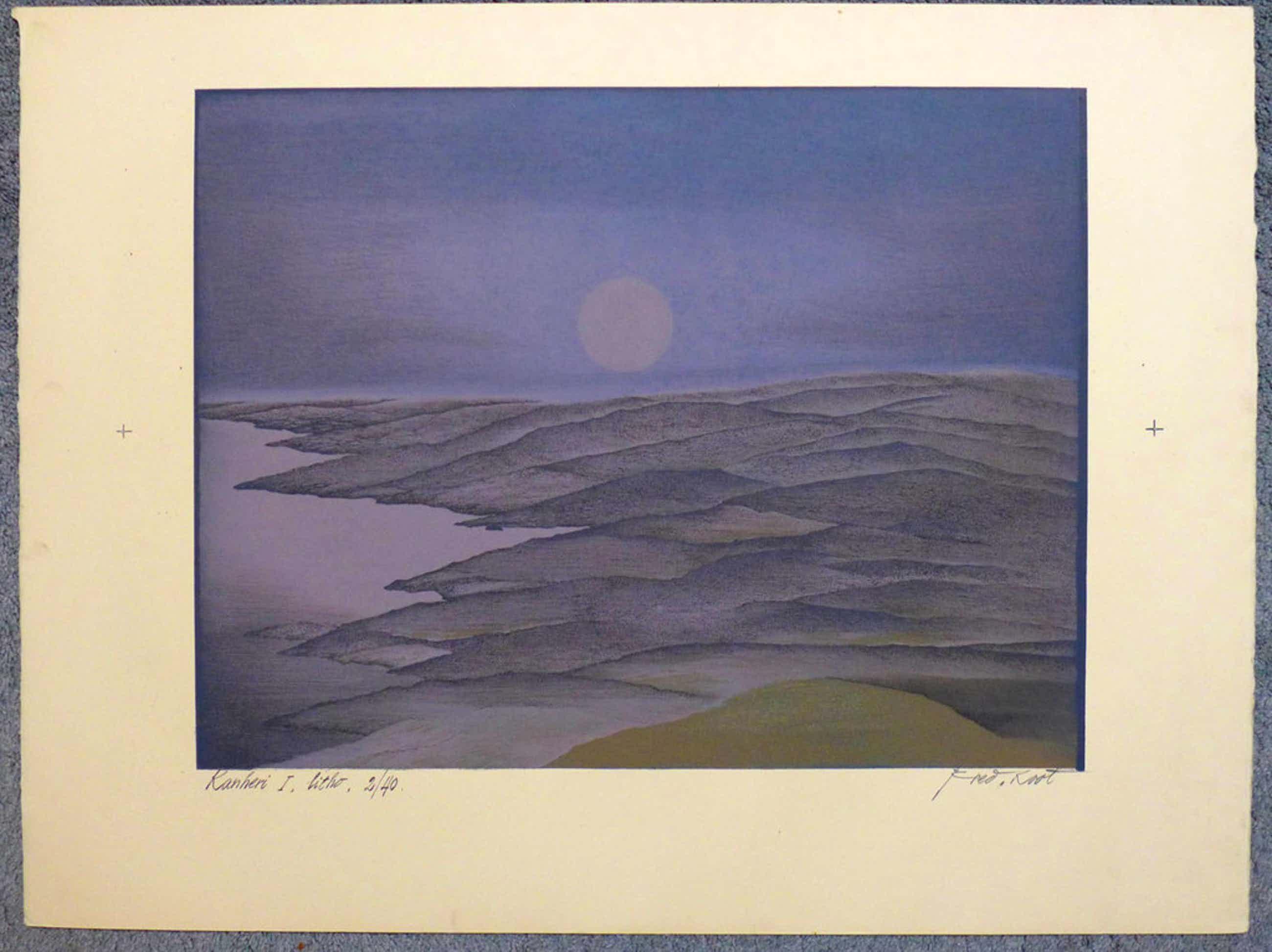 Fred Koot, litho, titel Kanheri I, oplage 2/40, beeldformaat 35,3 x 44,8 cm.  kopen? Bied vanaf 50!