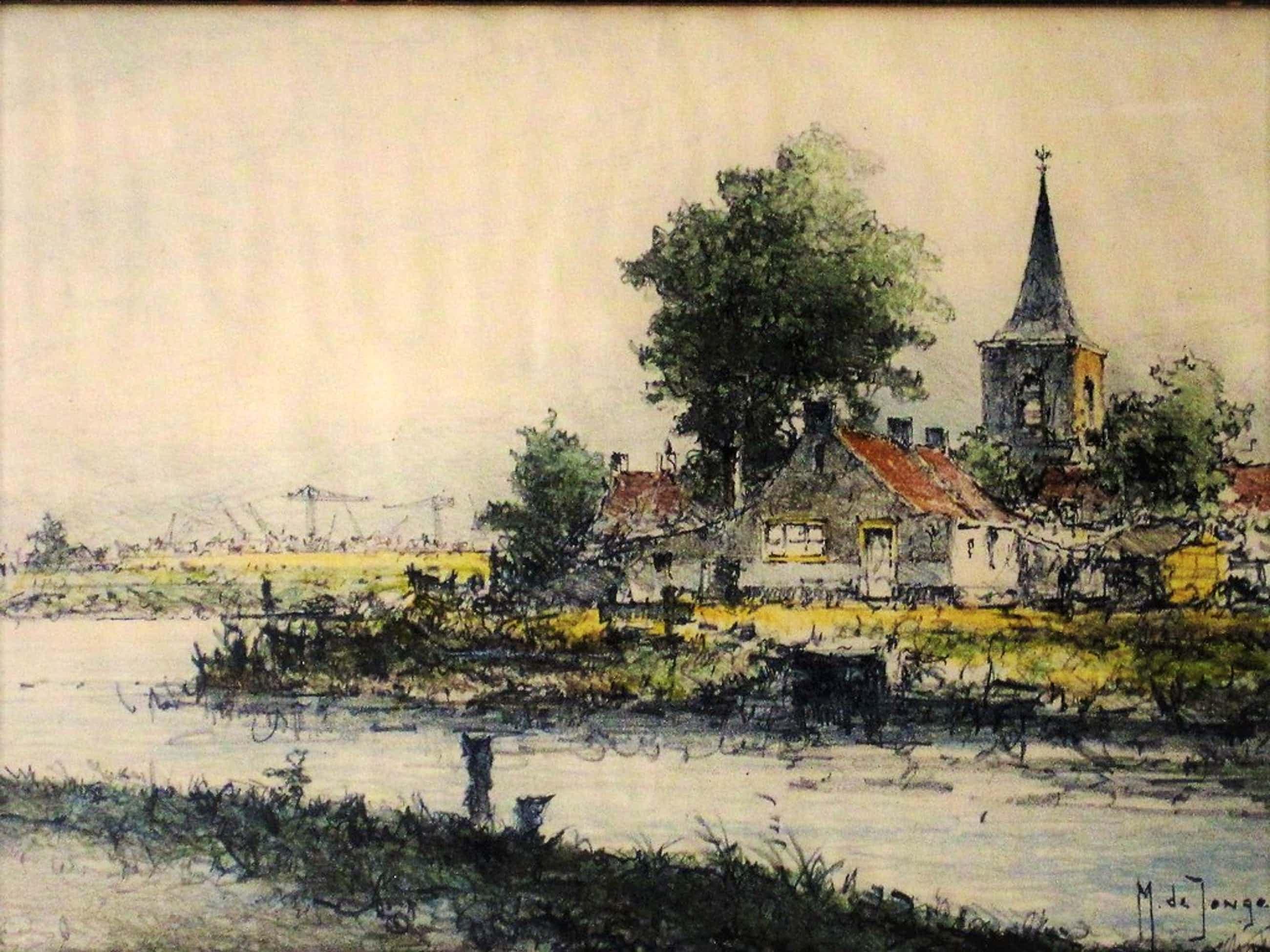 Impress. Aquarel van Rotterdammer Marius Drulman (1912-1977) Kortenhoef ?  kopen? Bied vanaf 70!
