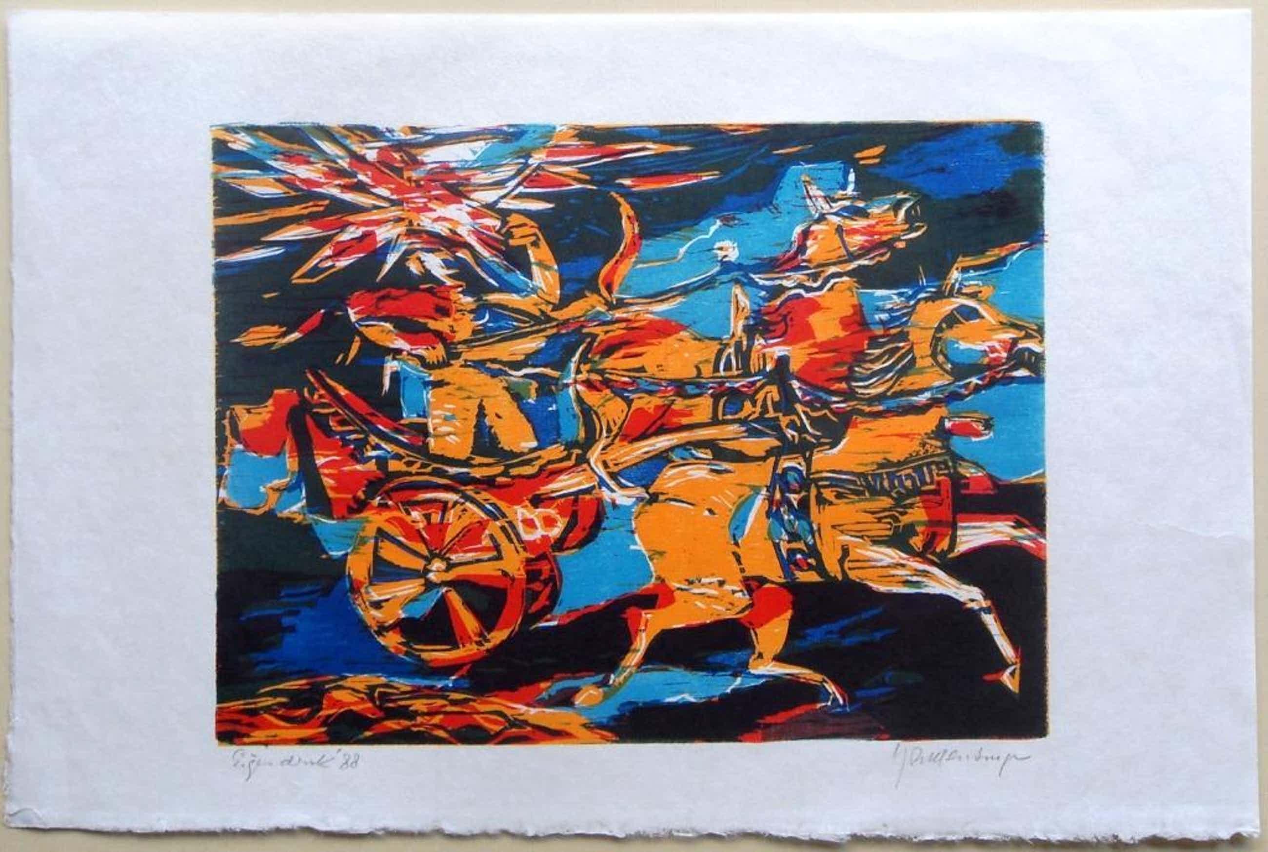 Jan Mensinga:strijdwagen met paarden (kleurenhoutsnede) kopen? Bied vanaf 41!