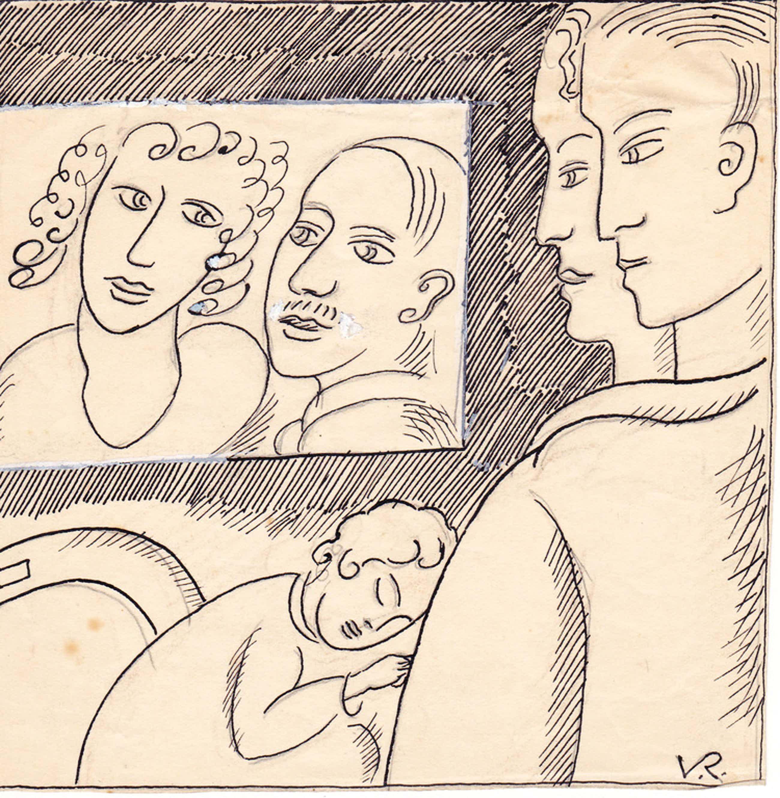 Otto van Rees - Otto van Rees, pentekening, formaat 16.2 x 16.2 cm. gesigneerd rechts onder: V kopen? Bied vanaf 75!