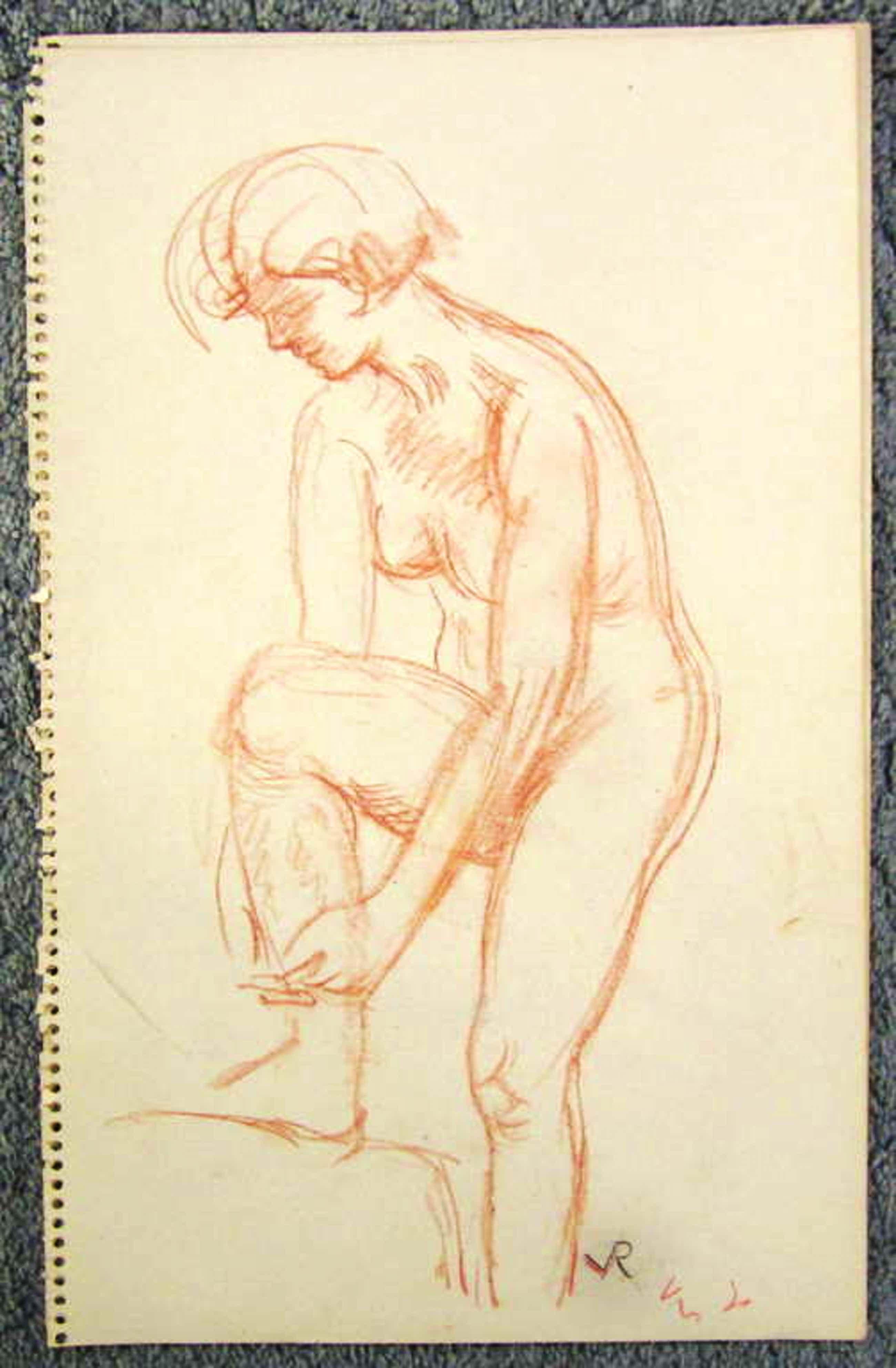 Otto van Rees 1884-1956, krijt-tekening uit schetsboek,  bladformaat 33.2 x 20.8 kopen? Bied vanaf 75!