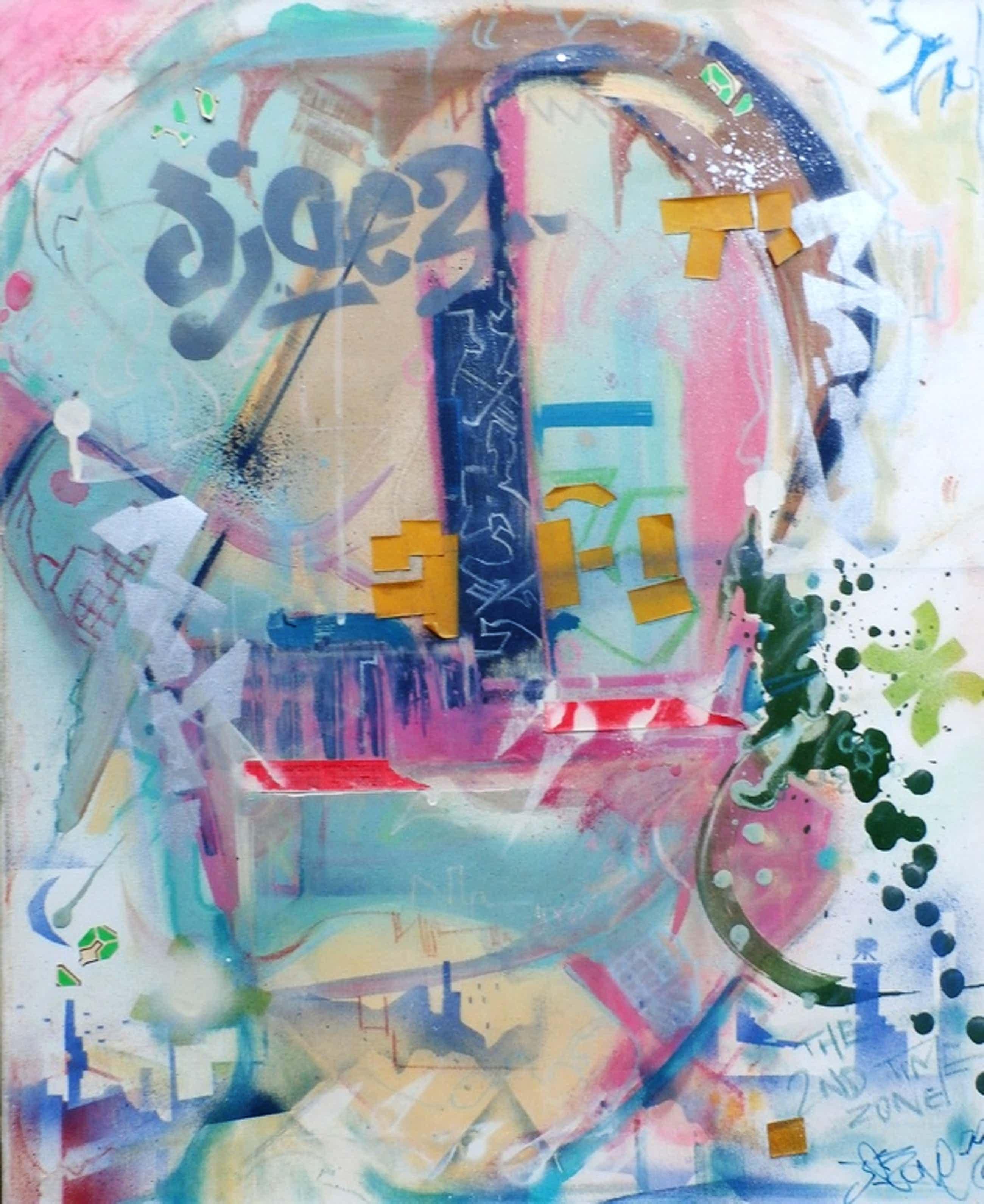 Jasper Krabbe - Collage/gemengde techniek op doek: The 2nd time zone - 1986 kopen? Bied vanaf 1100!