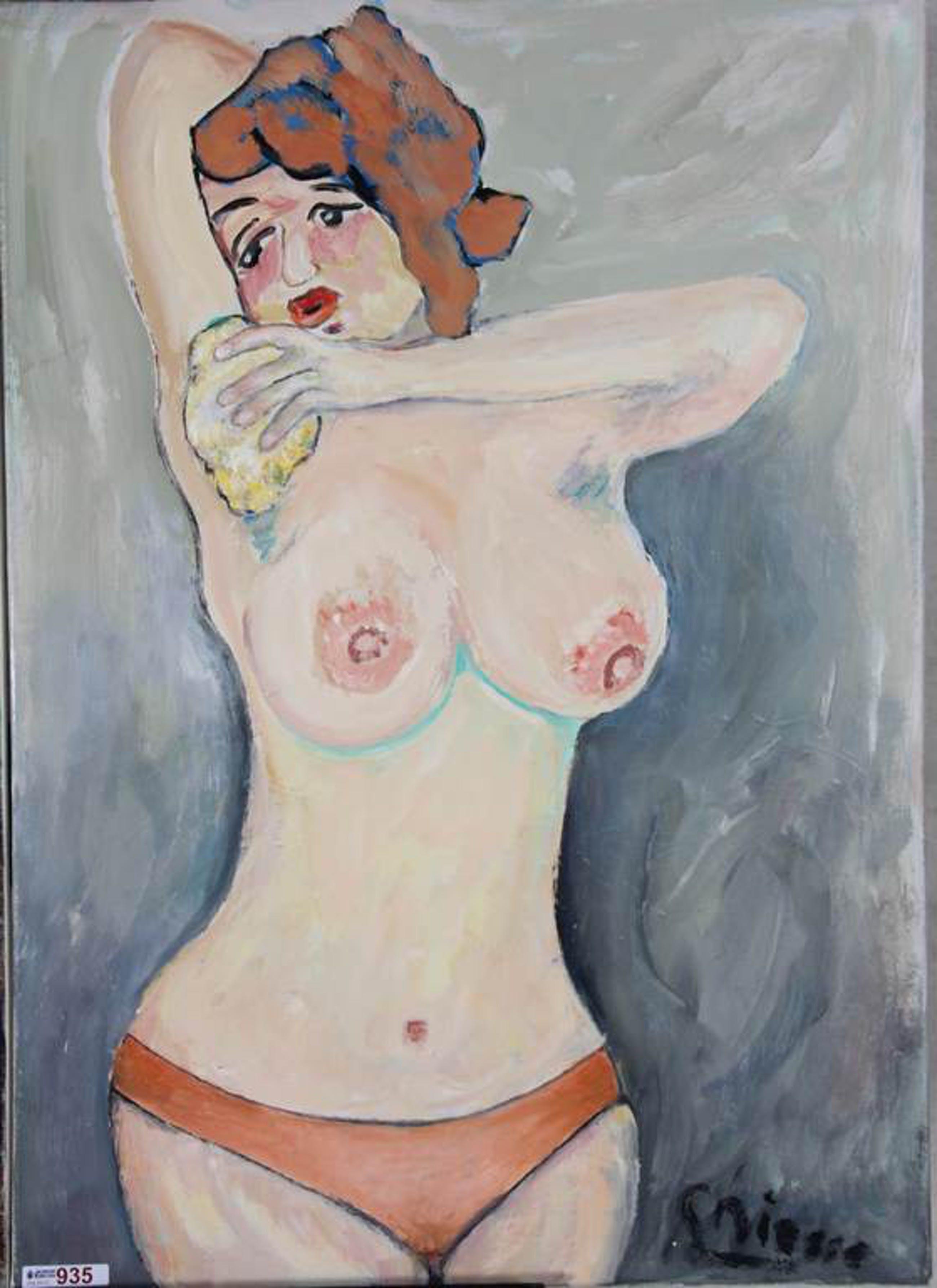 Gijsbert Niesse ( Schagen 1934 -  wassend half-naakt - olie / doek  50x70  kopen? Bied vanaf 60!