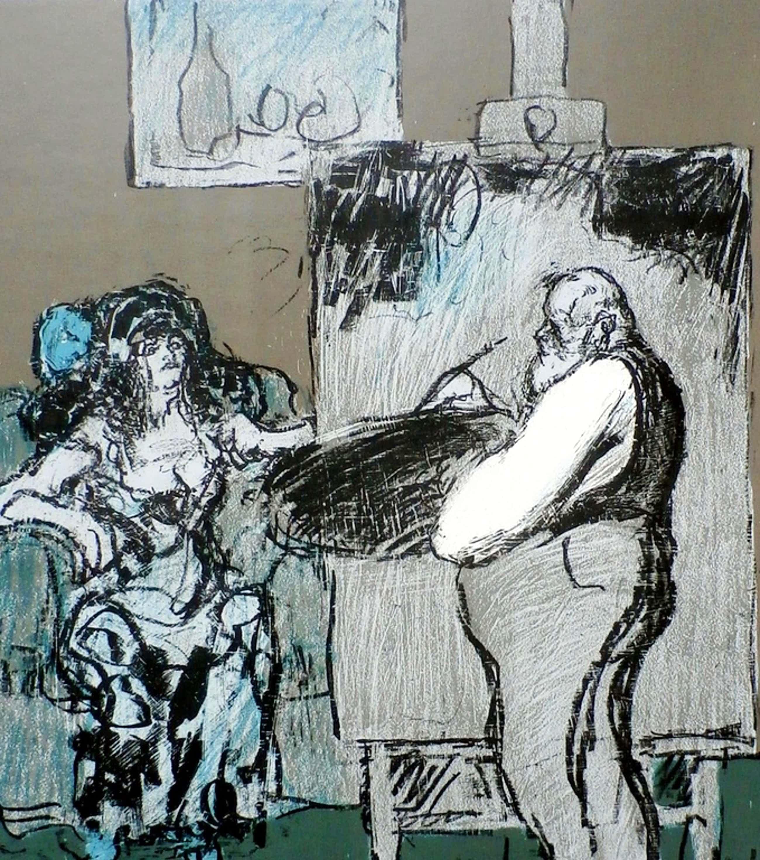 Kurt Löb - Kleurenlitho: de schilder (Kurt Löb) en zijn model - 1978 kopen? Bied vanaf 65!