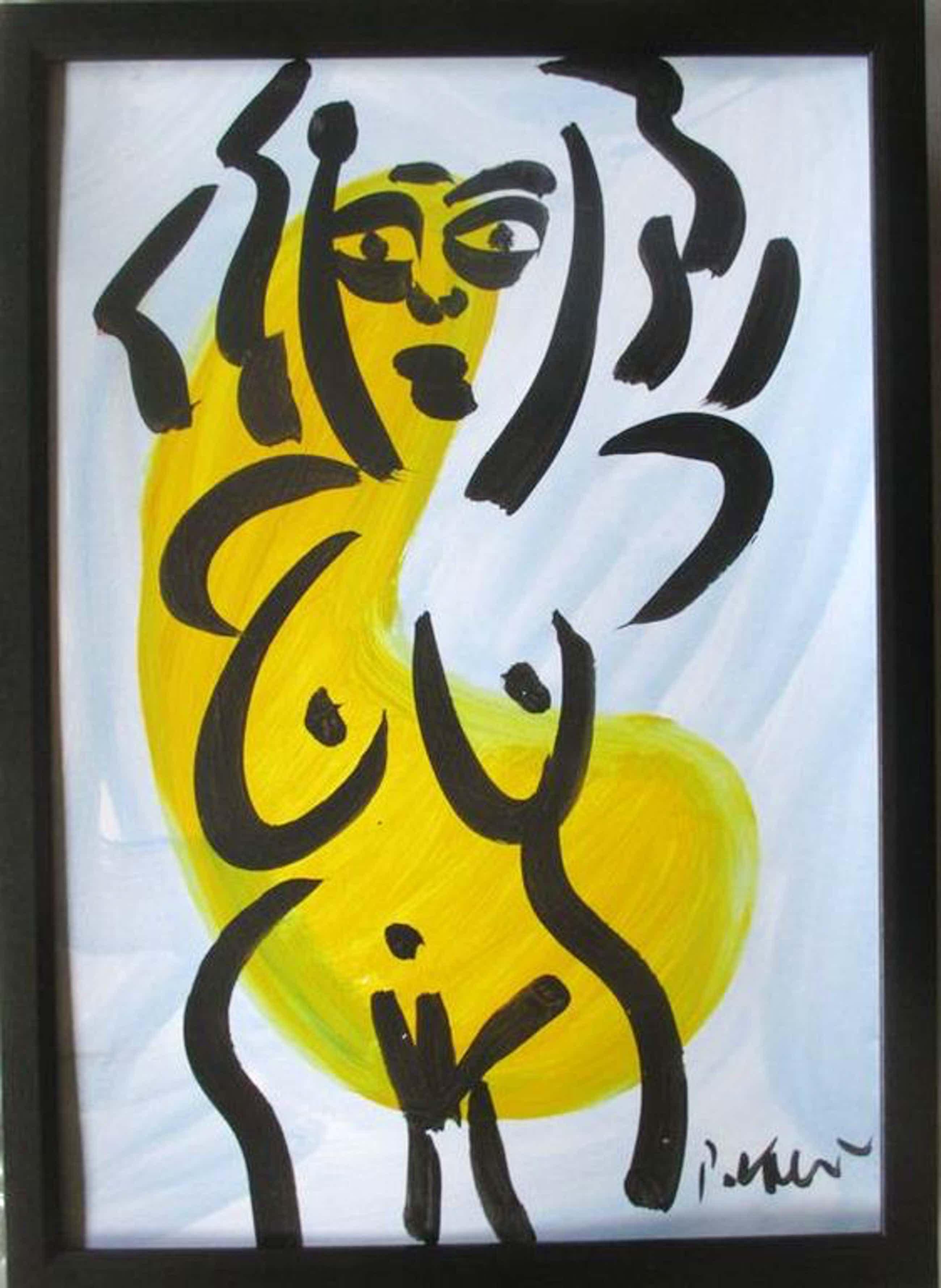 "Peter Keil - ""Yellow Lady"" - acrylverf op karton - gesigneerd - ingelijst kopen? Bied vanaf 120!"