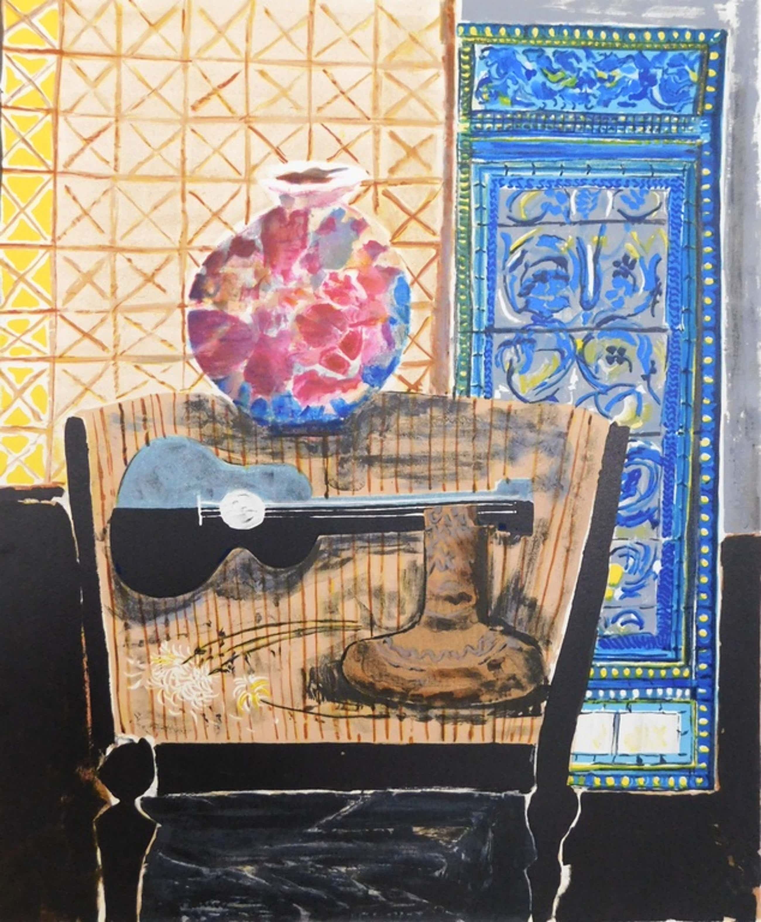 Wndy Chazin - kleurenlitho - Composition with Guitar and Vase kopen? Bied vanaf 40!