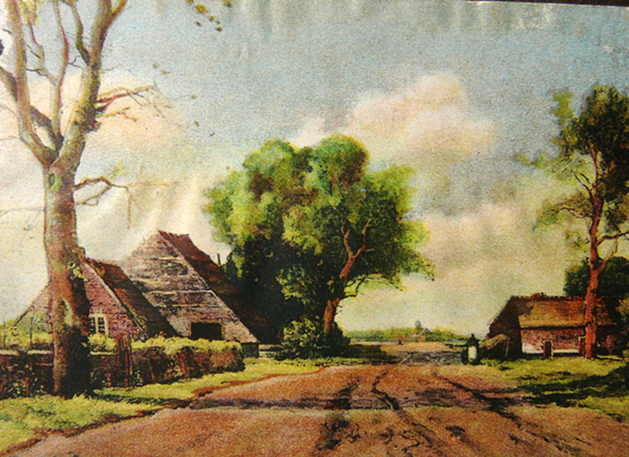 Th. de Bock: 'Landweg' (Lithografie circa 1920) kopen? Bied vanaf 61!