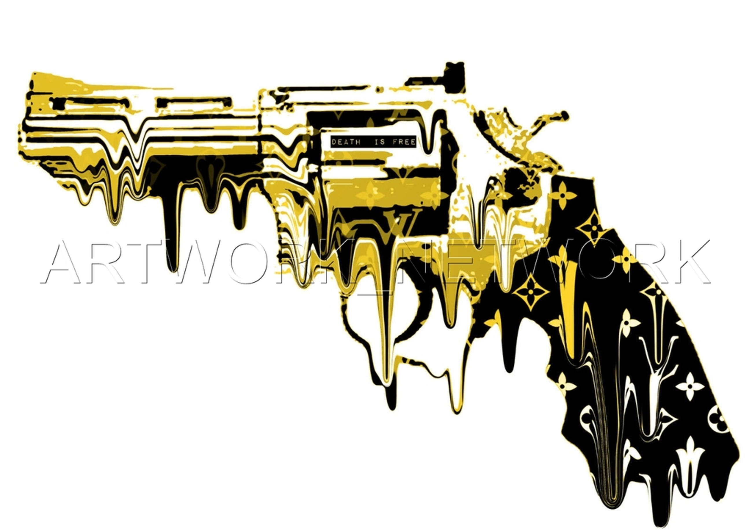 """Large Print Painting """"Yellow Melt Gun"""" Signed Numbered A/P or 1 to 100 with COA kopen? Bied vanaf 1!"""