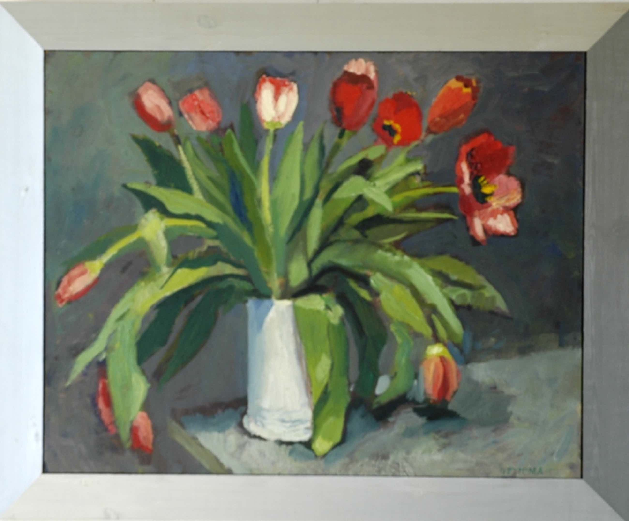 Gerard Ettema, olieverf, Rode tulpen, 87x72 cm incl. lijst. kopen? Bied vanaf 75!