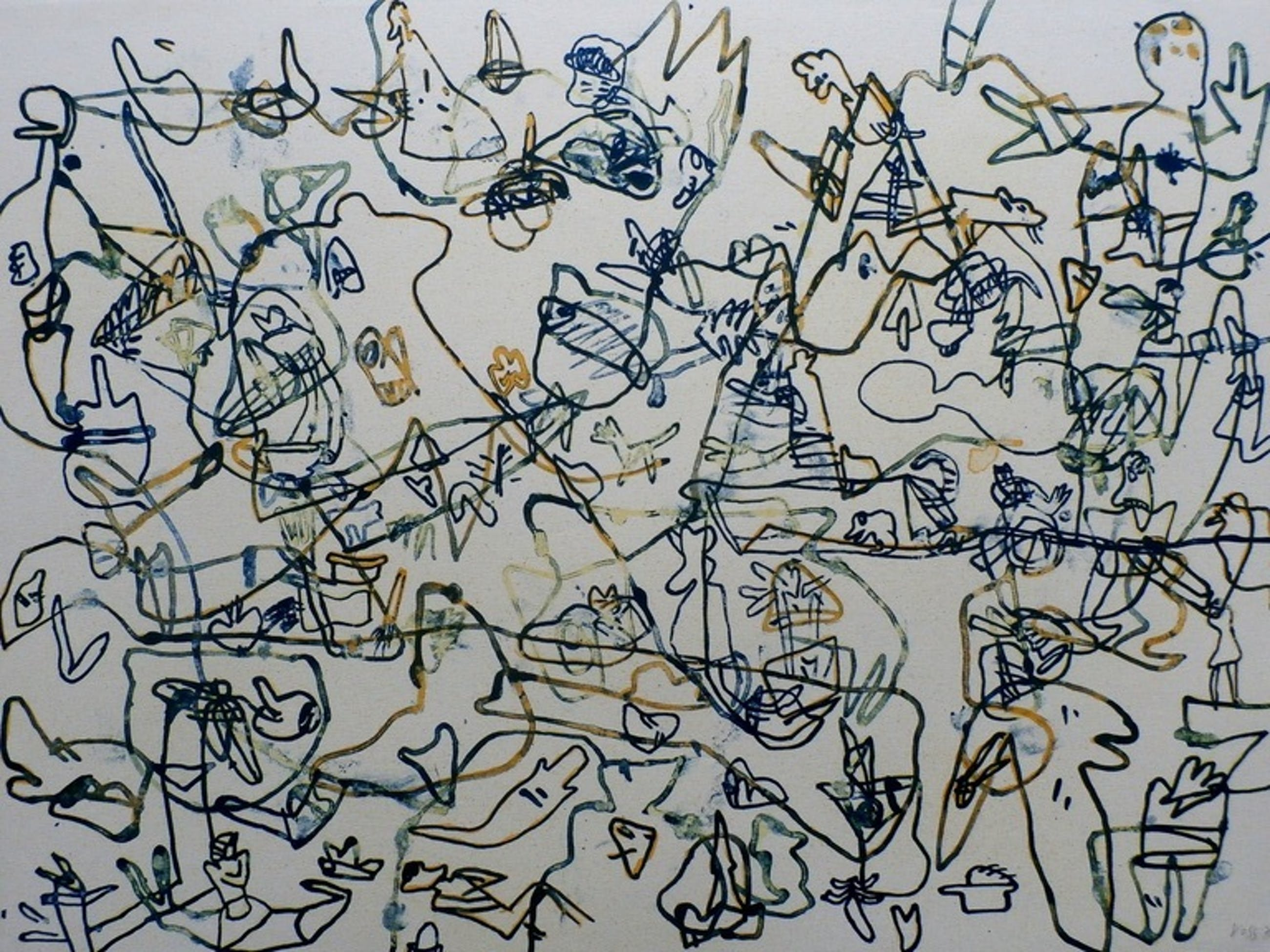 Jan Voss -  Kleuren Litho - compositie met lijnen - 1978 kopen? Bied vanaf 60!