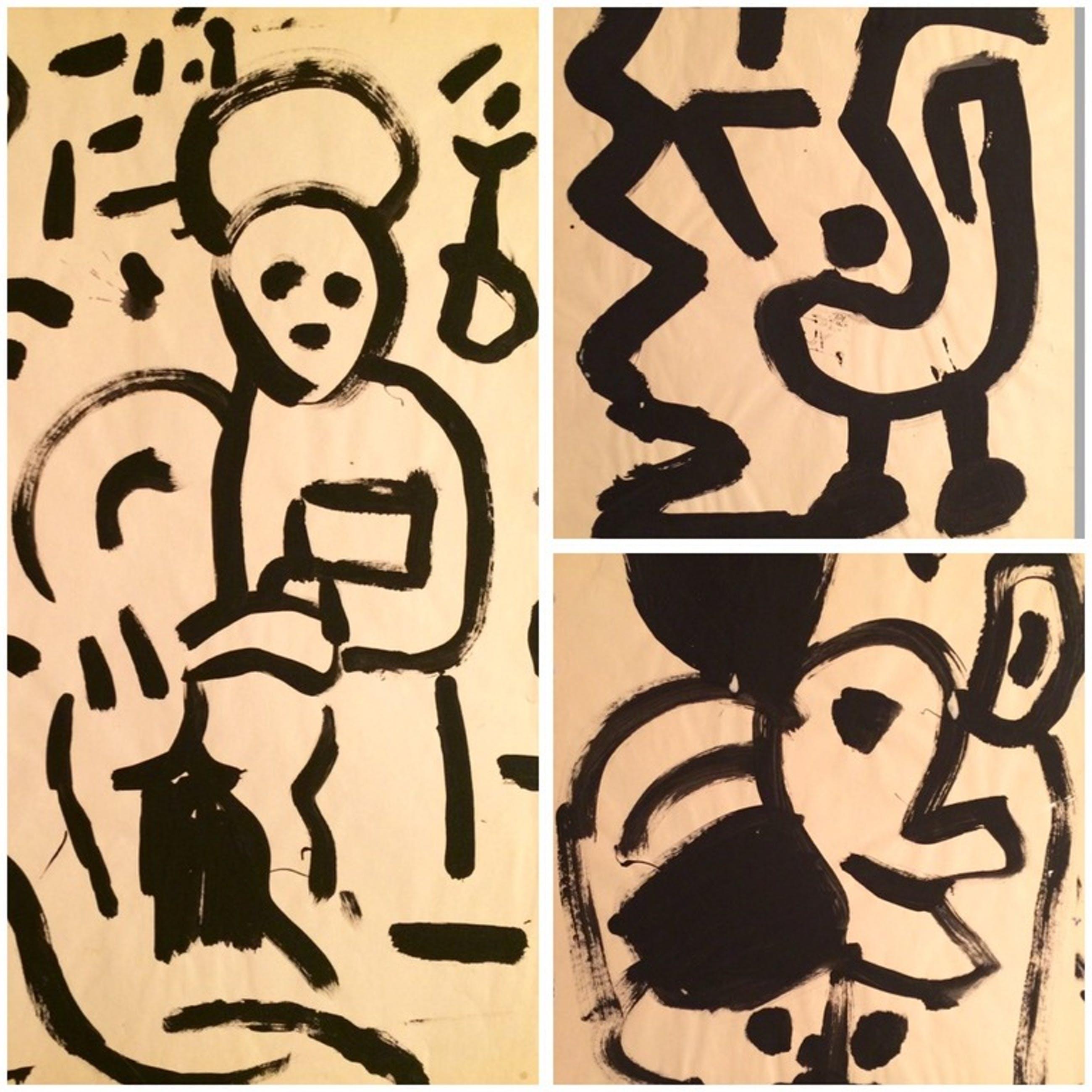 Peter Klashorst: 3 VROEGE Schilderingen - Subjects in Black I/II/VII - ca. 1983 kopen? Bied vanaf 145!