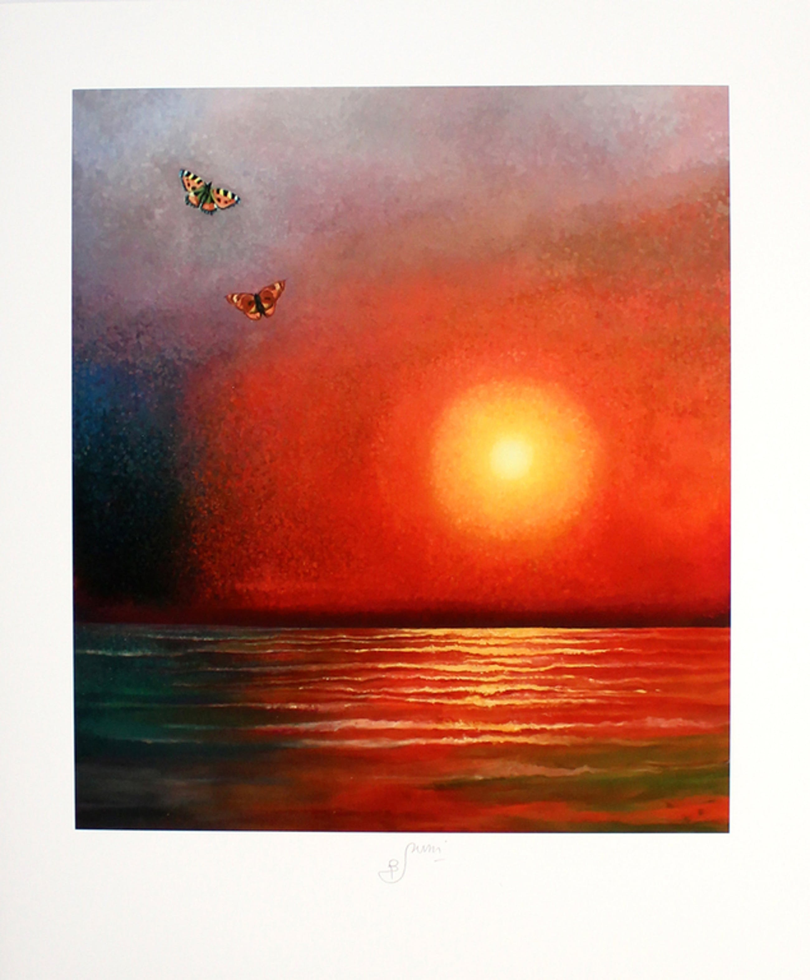Bruno Bruni -Vlinders bij zonsondergang- Een prachtige Pigmentdruk. Gesigneerd. kopen? Bied vanaf 57!