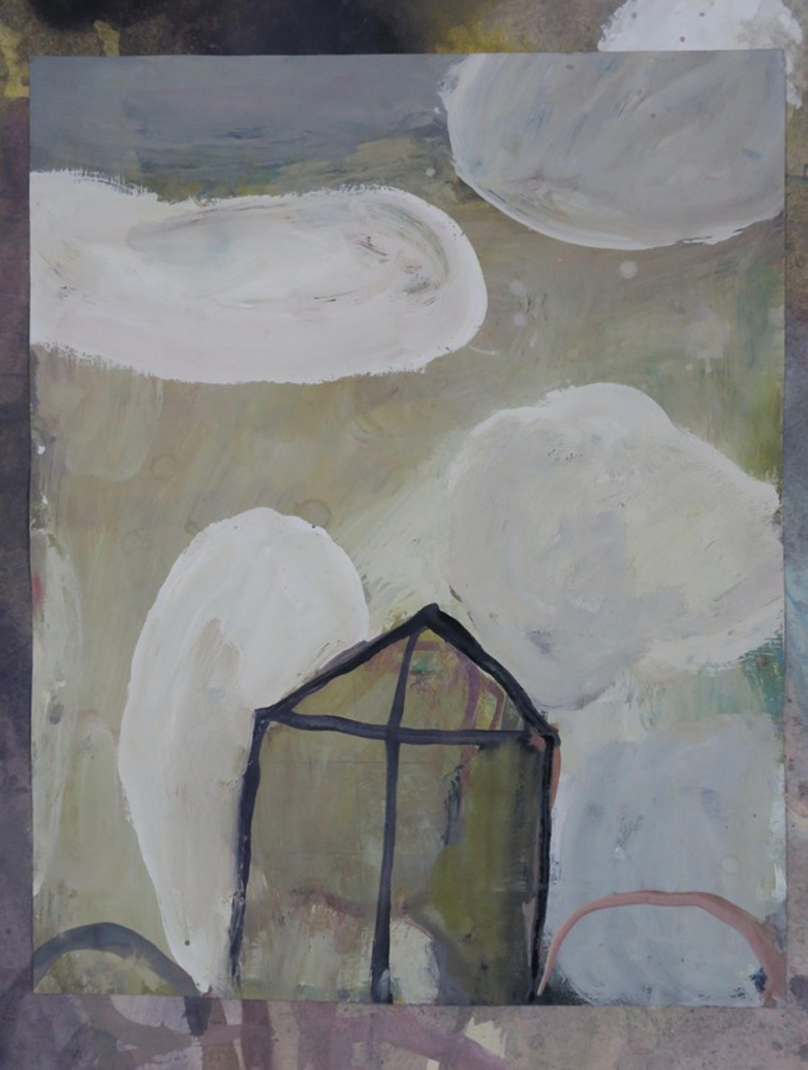 Jos van Gessel: Acryl op papier, Huis in de wolken  kopen? Bied vanaf 1!