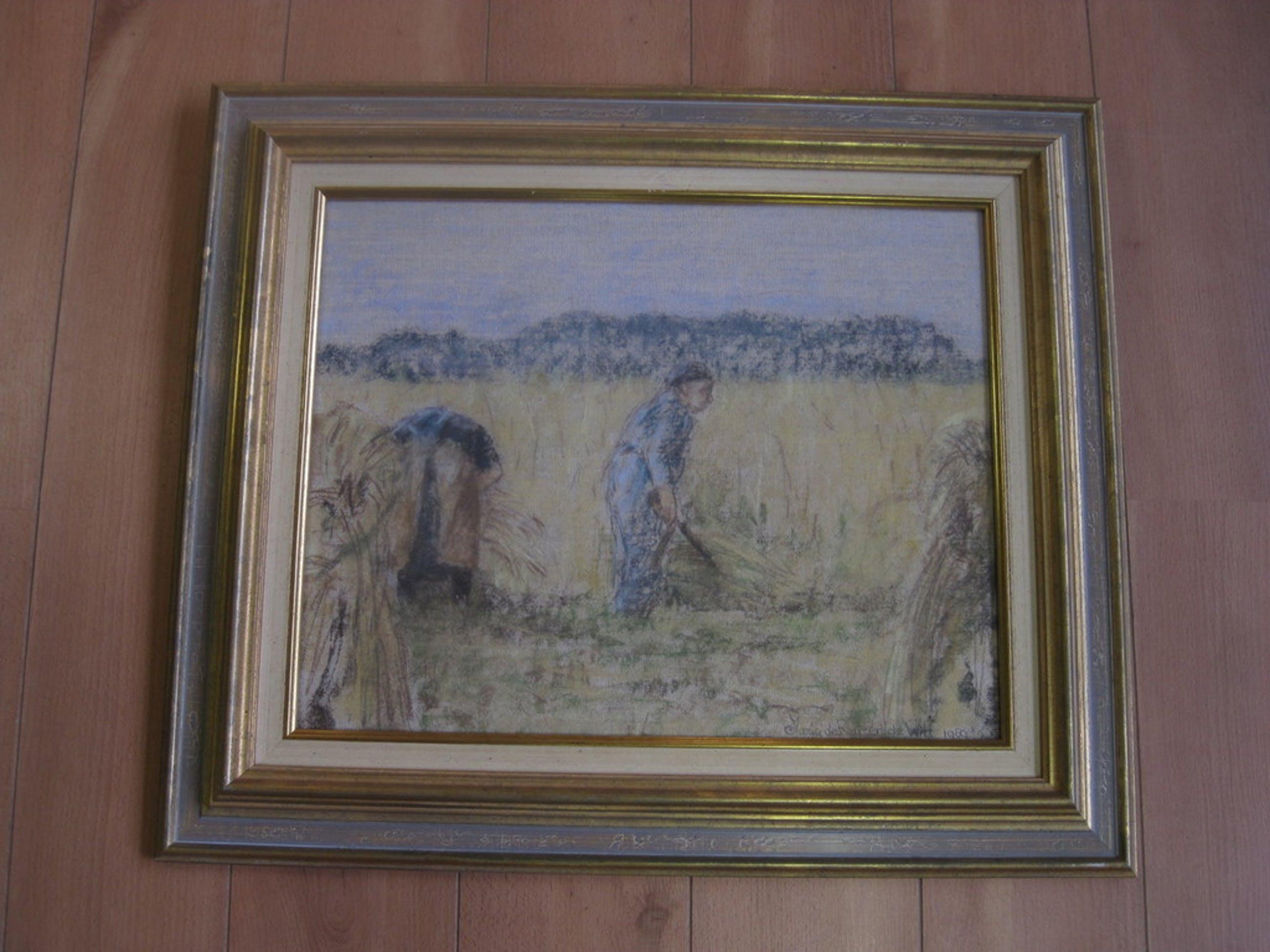 """""""Maitre du Pastel"""" Maria Ruiter De Witt 1947- landarbeiders Artprice 1000-4500€!!  kopen? Bied vanaf 150!"""