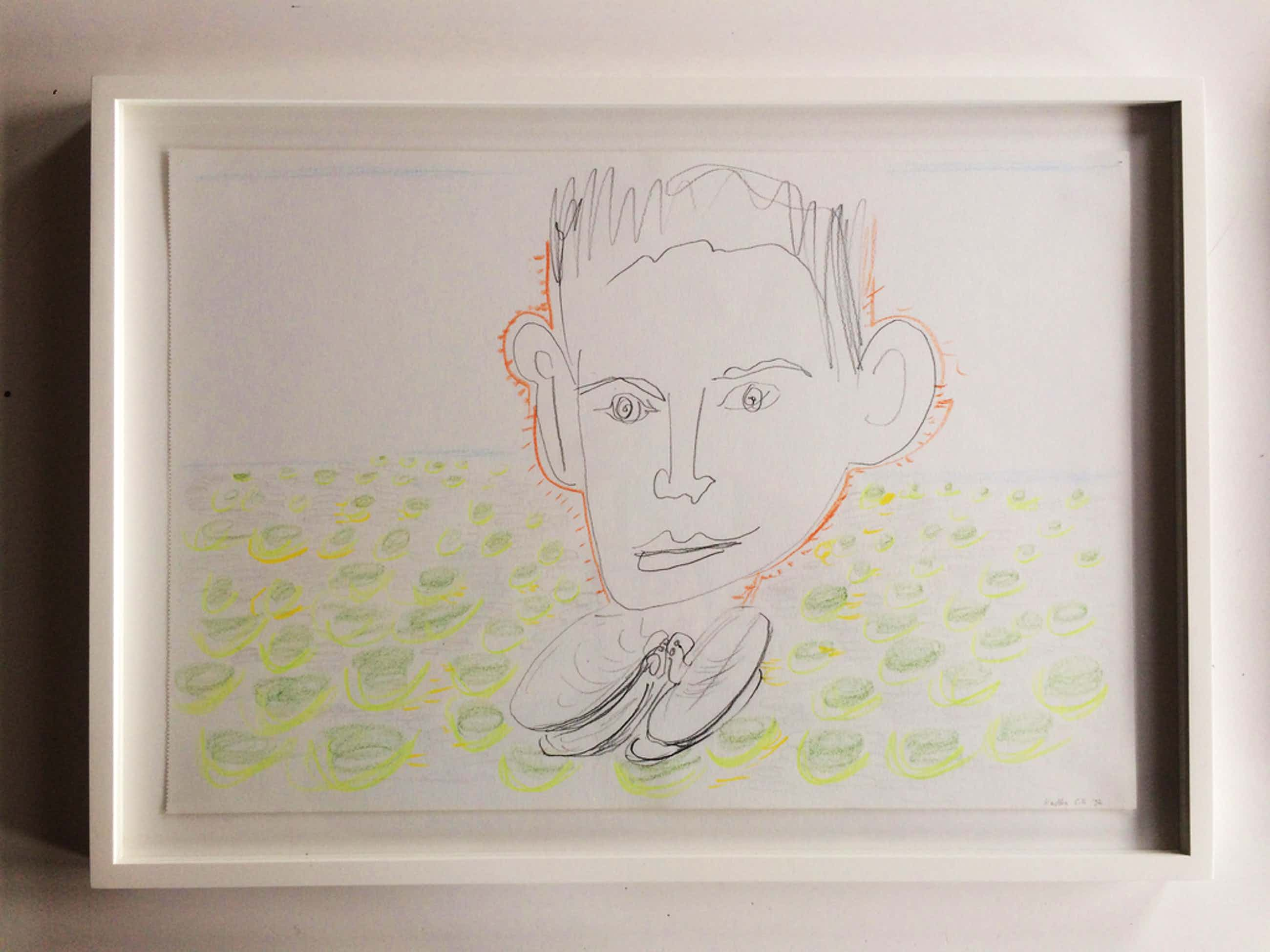Emo Verkerk, Kafka, 1992, pencil and color pencil on paper   kopen? Bied vanaf 390!