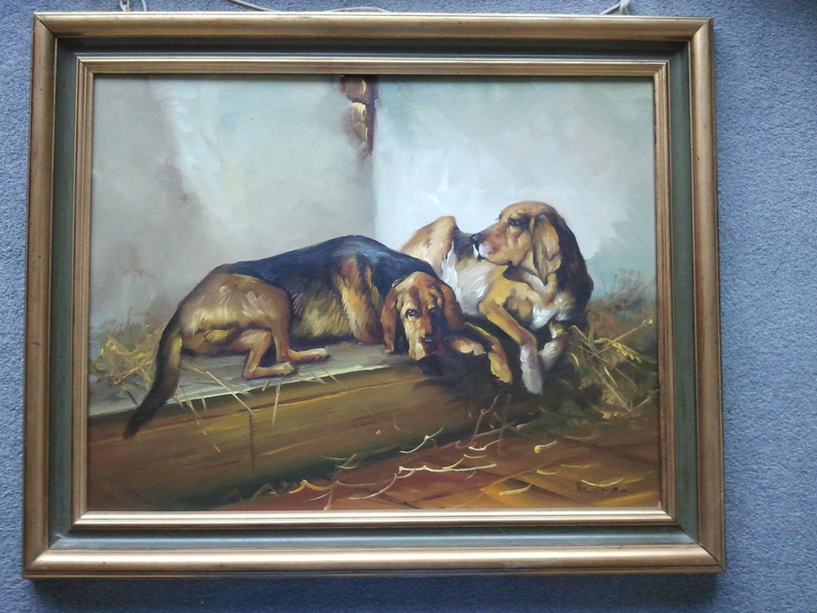 twee liggende honden, Olieverf op board (marouflé) kopen? Bied vanaf 1!