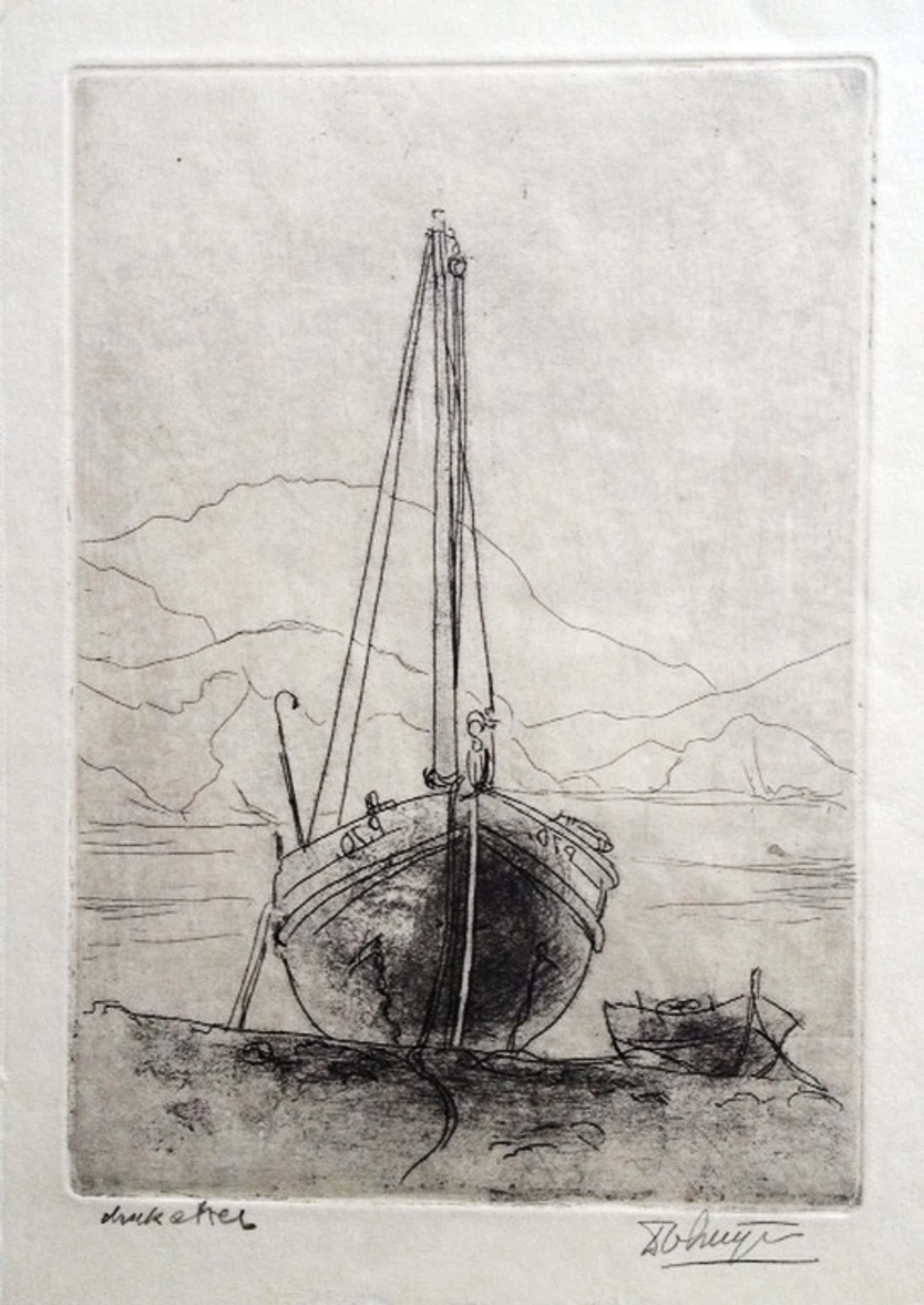 Dick van Luijn Scheepje aan de kust bij Colliource 1951. kopen? Bied vanaf 40!