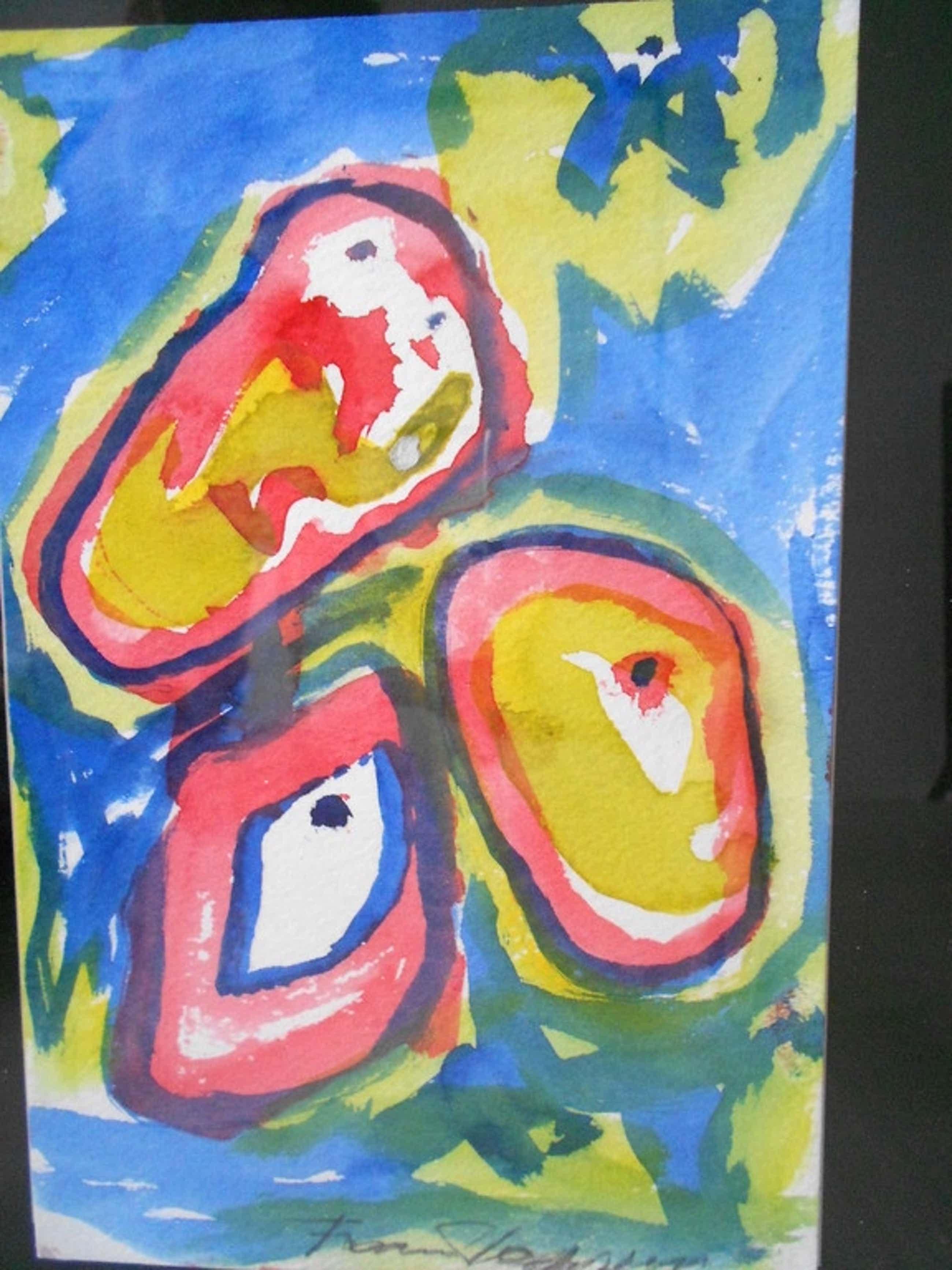 Finn Pedersen originele aquarel met lijst neo CoBrA kopen? Bied vanaf 80!