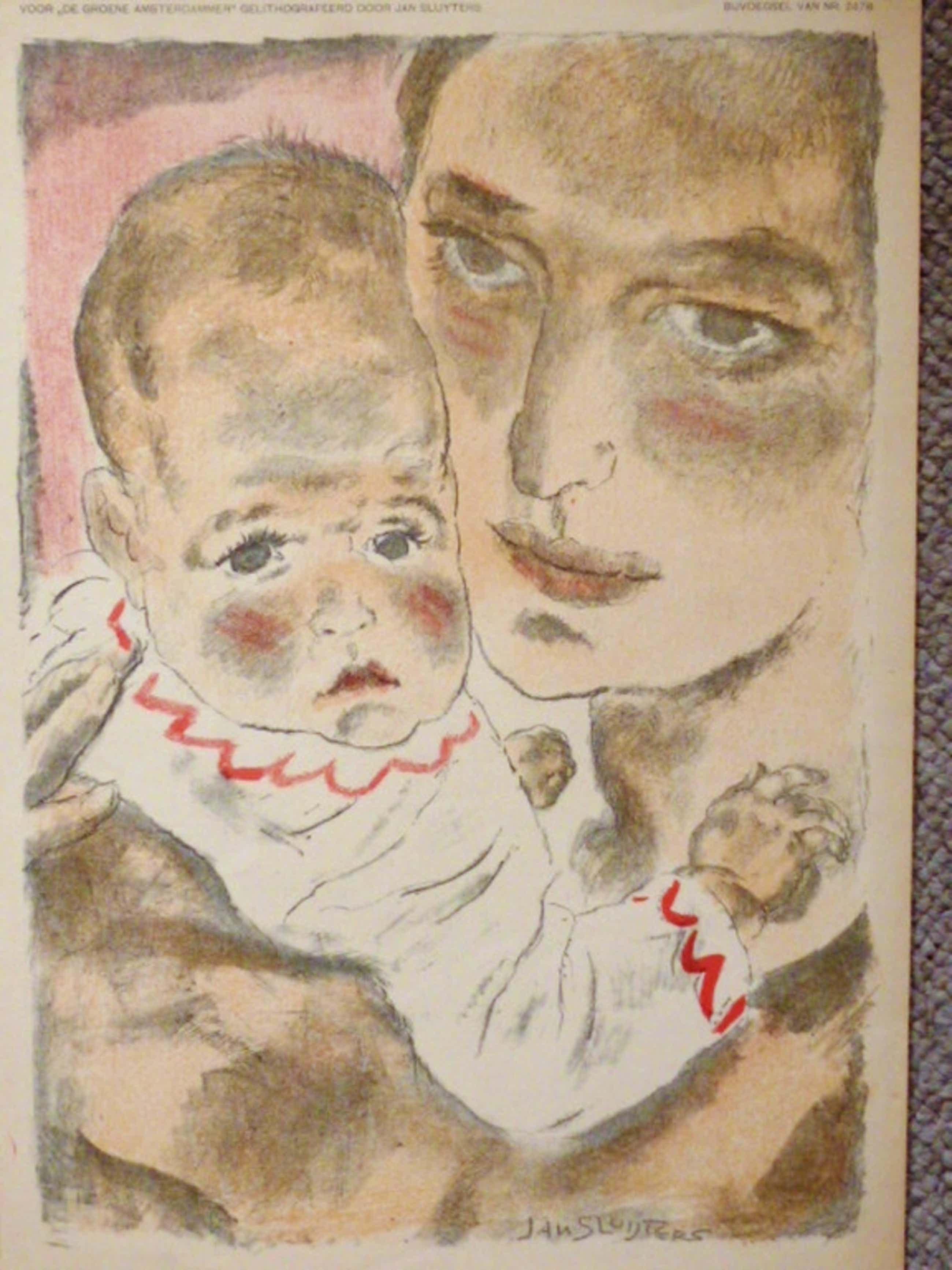 Jan Sluijters - kleurenlitho - Moeder met kind kopen? Bied vanaf 52!