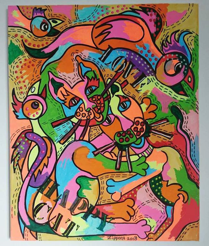 Zippora Meijer  -Happy Cat -  acryl en posca op canvas 40 x 50 cm kopen? Bied vanaf 75!