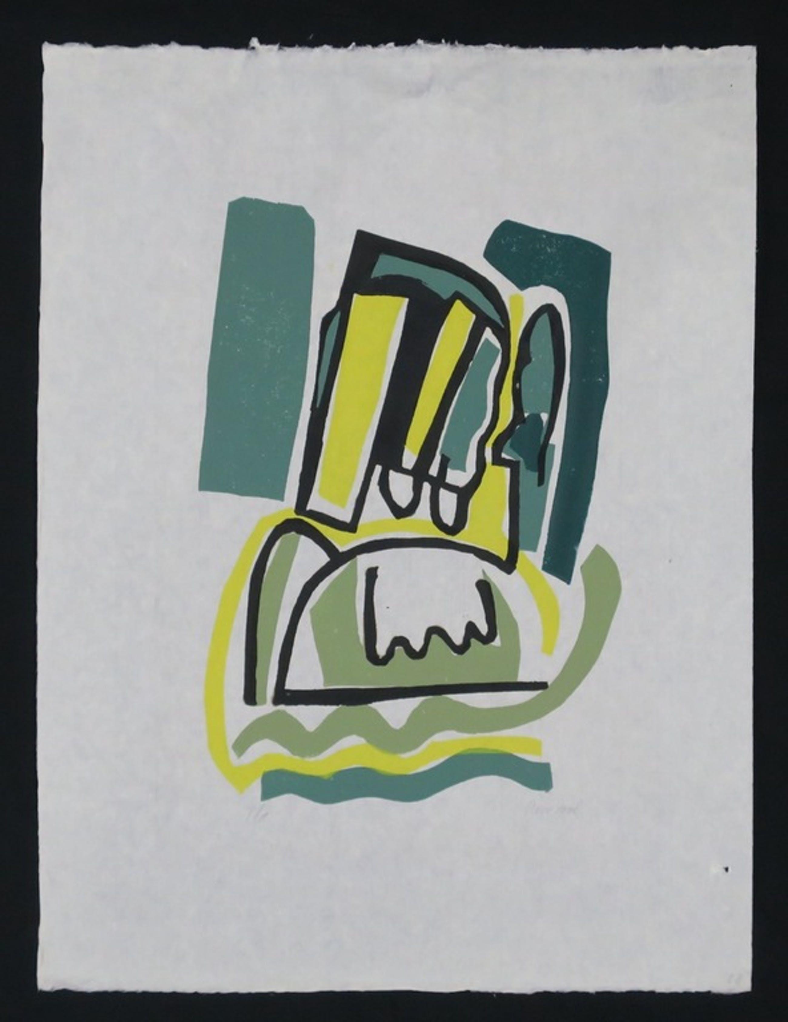 Rein Dool: Lino op rijstpapier, Zonder titel (groen) kopen? Bied vanaf 1!