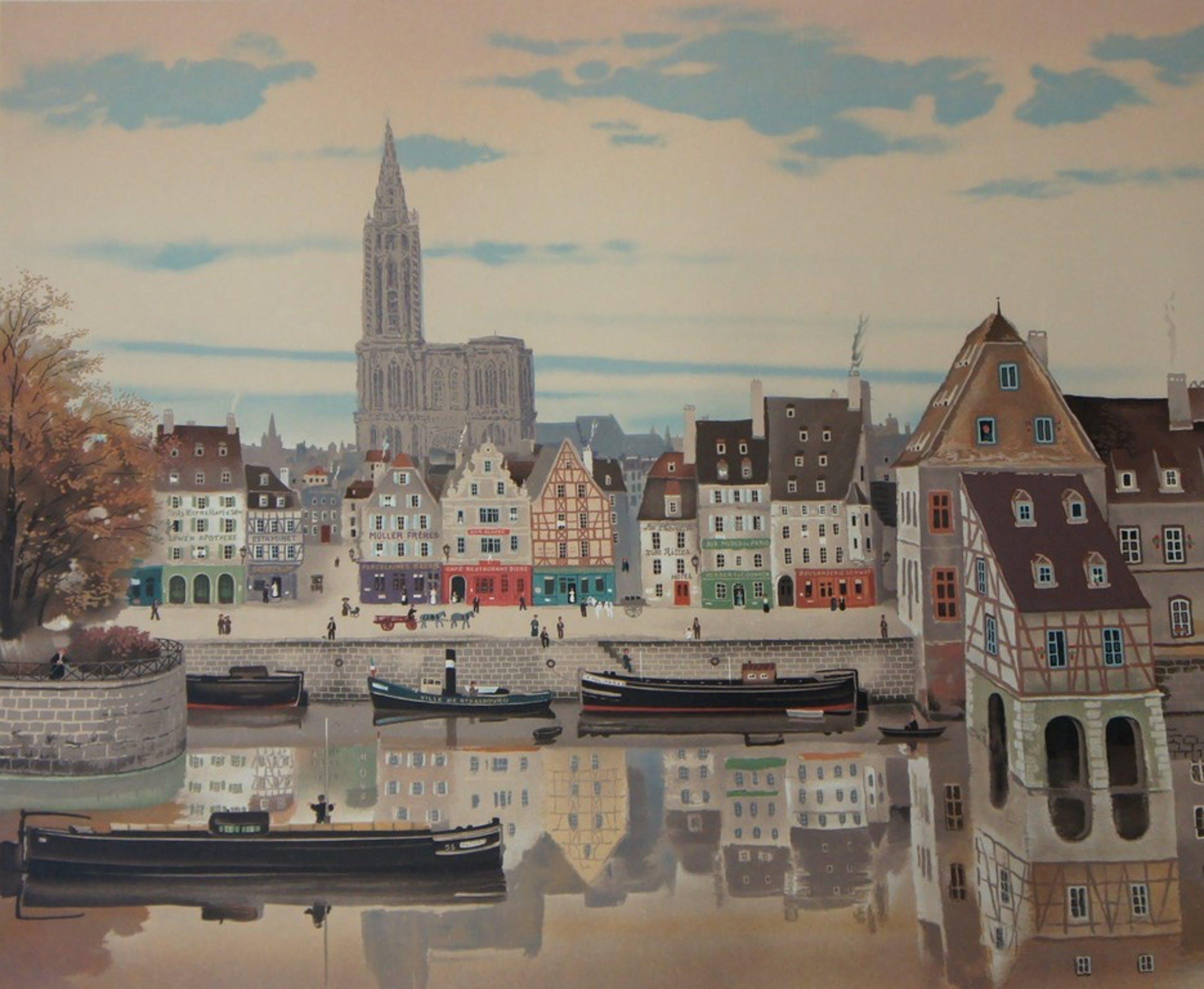 Lithografie - Michel Delacroix (1933), Stadsgezicht aan het water kopen? Bied vanaf 25!