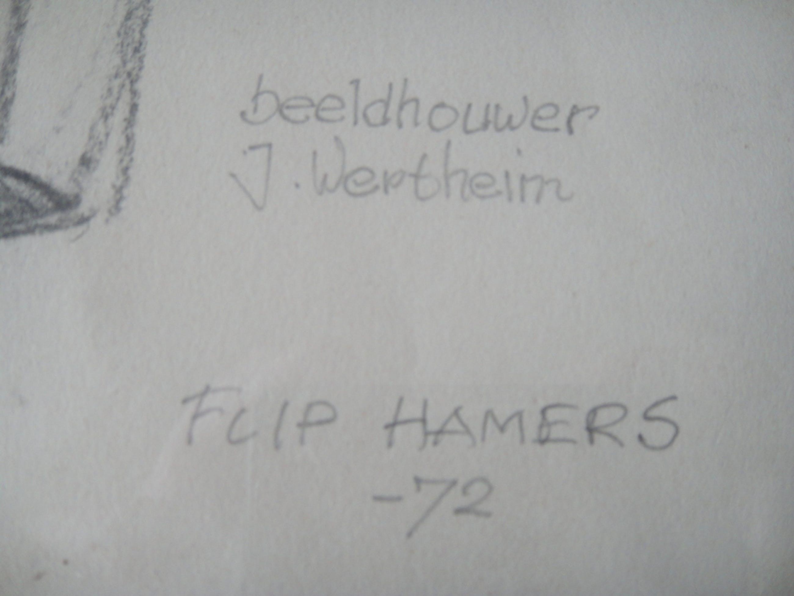 Flip Hamers, tekening, portret van beeldhouwer Jobs Wertheim kopen? Bied vanaf 1!