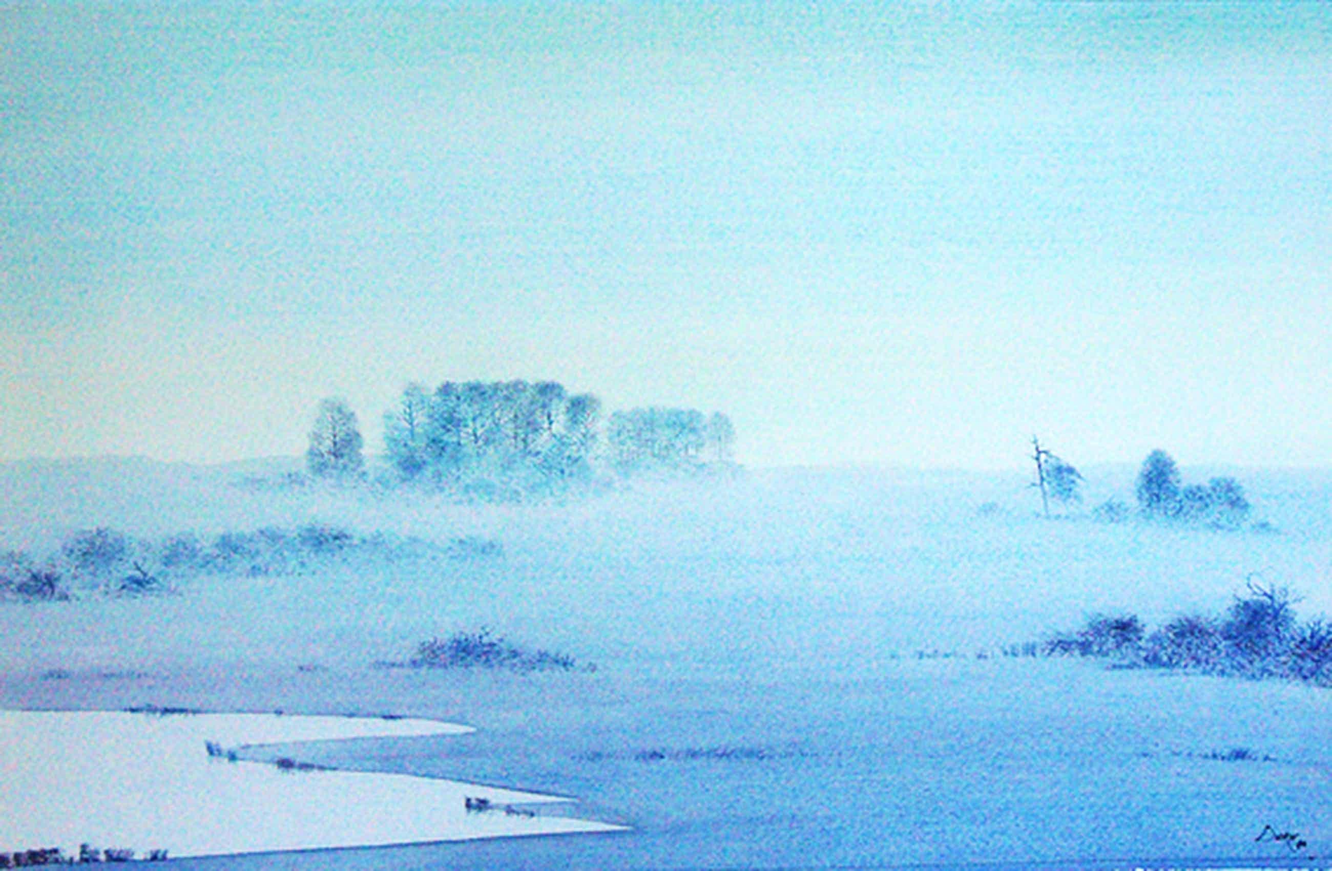 Denkor (A.J. Kooter): Nevelig landschap -aquarel, 1984- kopen? Bied vanaf 45!