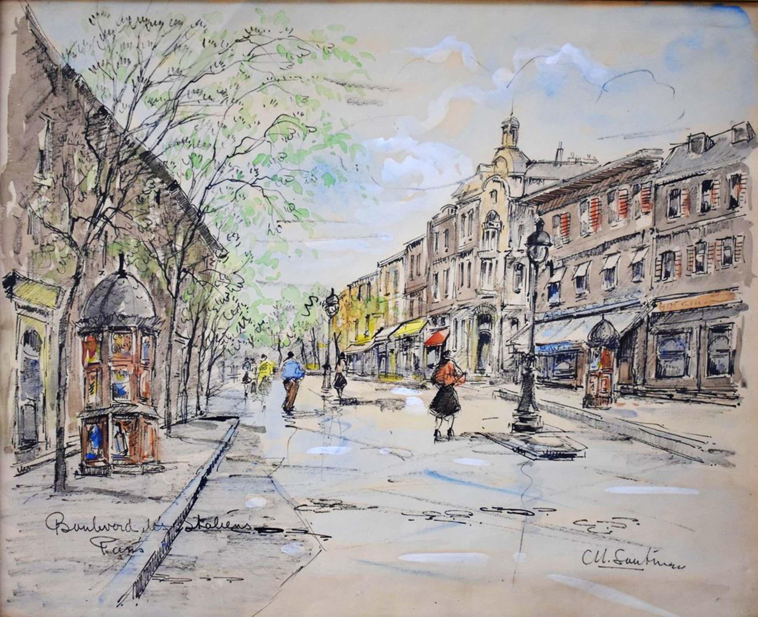 Michel Soutine (1914-1986 ), aquarel, Boulevard de Italiëns, Paris. kopen? Bied vanaf 80!