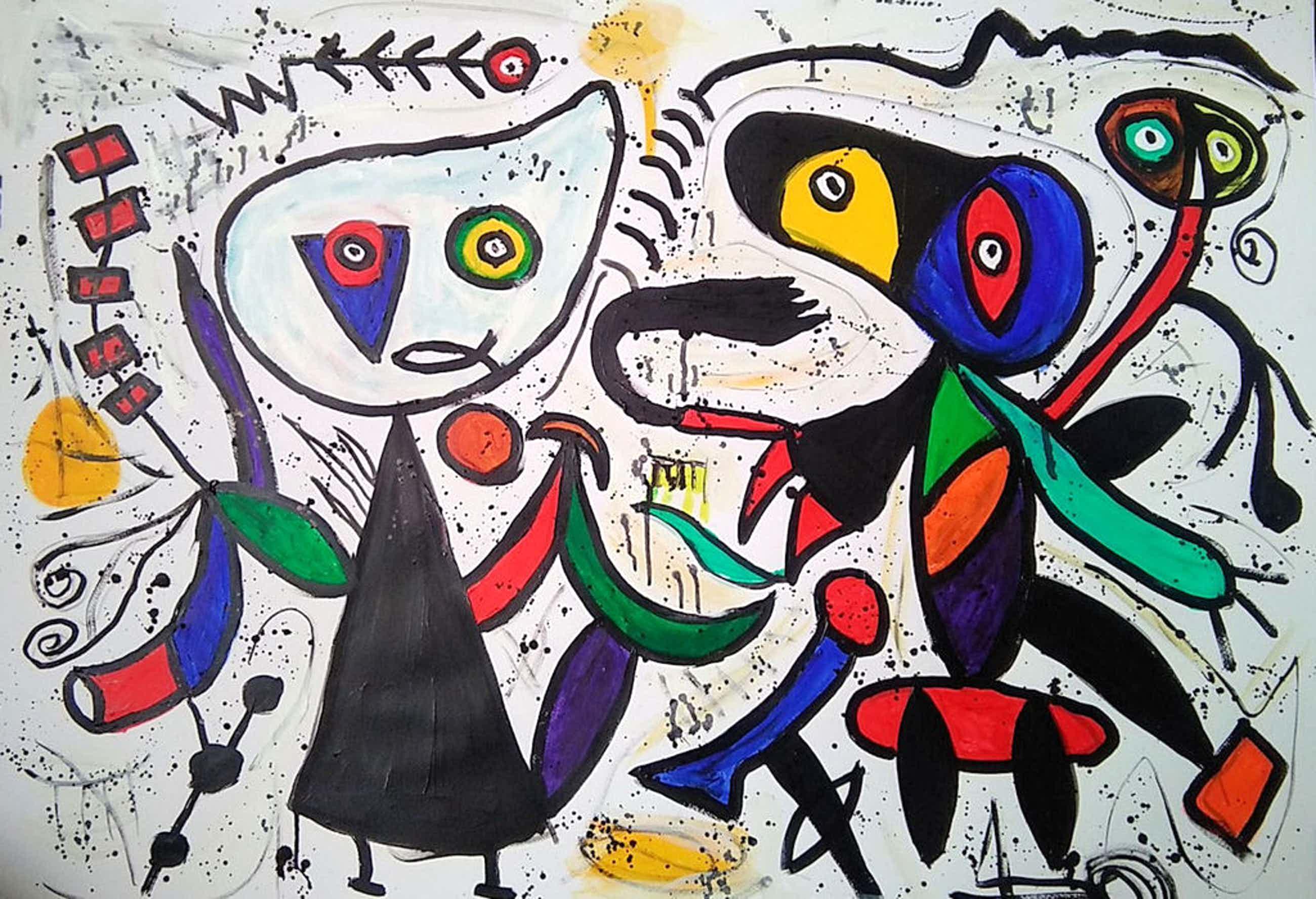 vreugdedans- acryl op papier- door beide kunstenaars gesigneerd kopen? Bied vanaf 120!