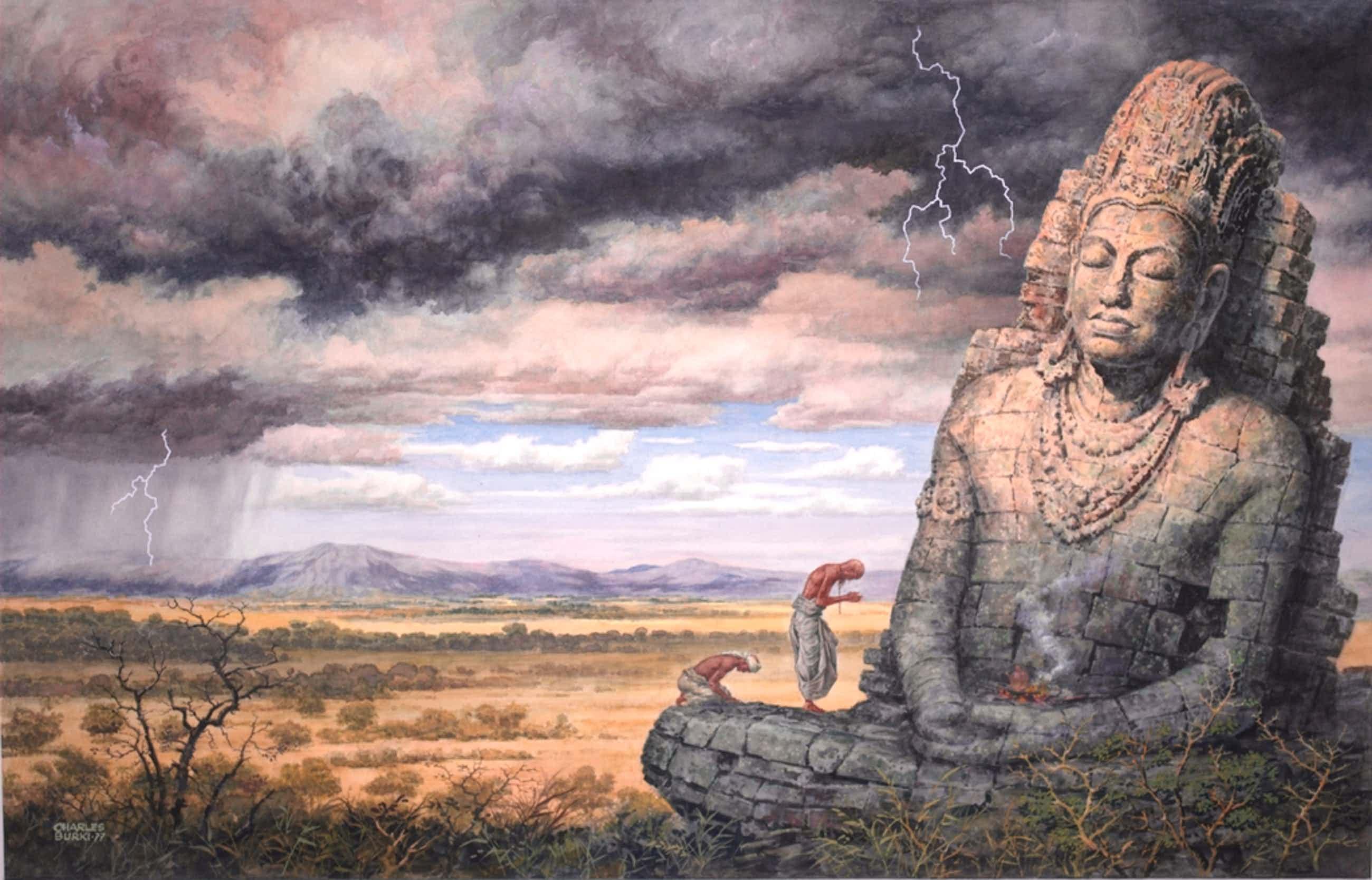 Boeddhabeeld - grote gesigneerde gouache uit 1977  kopen? Bied vanaf 99!