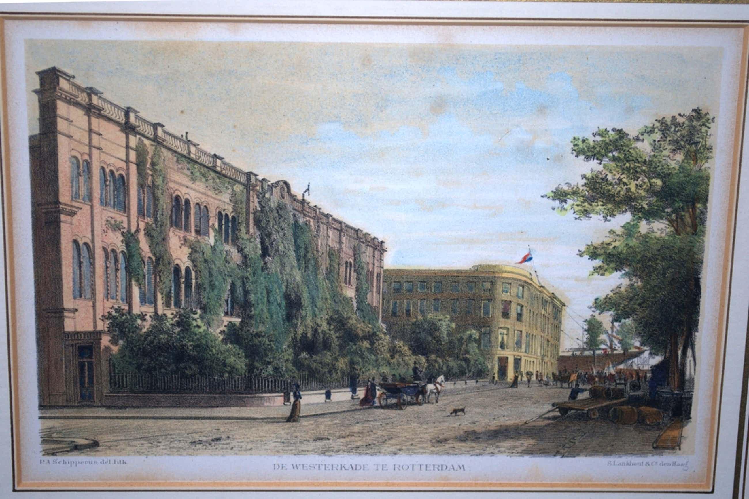 ROTTERDAM, de Westerkade - gekleurde lithografie uit 1878 - prachtig ingelijst kopen? Bied vanaf 35!