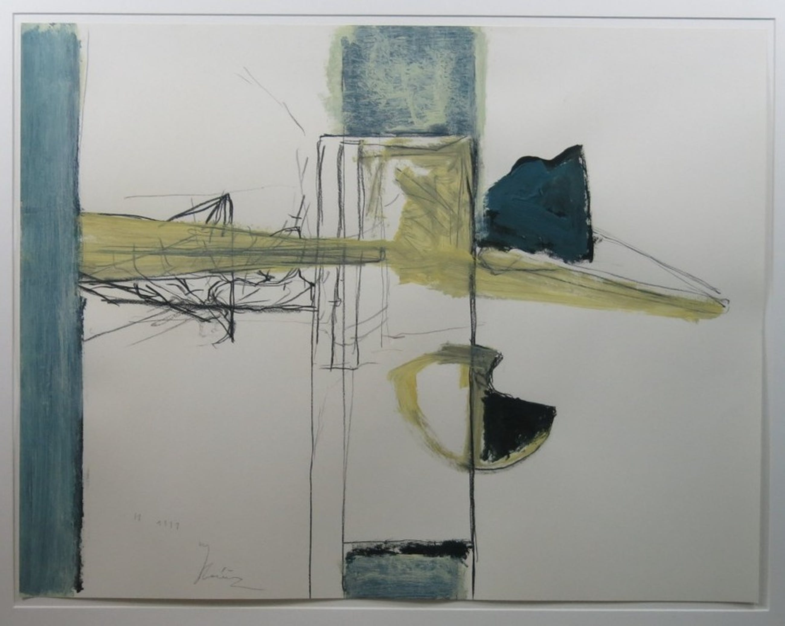 Miguel Ybanez: Acryl en krijt op papier, Abstract I -Ingelijst  kopen? Bied vanaf 150!