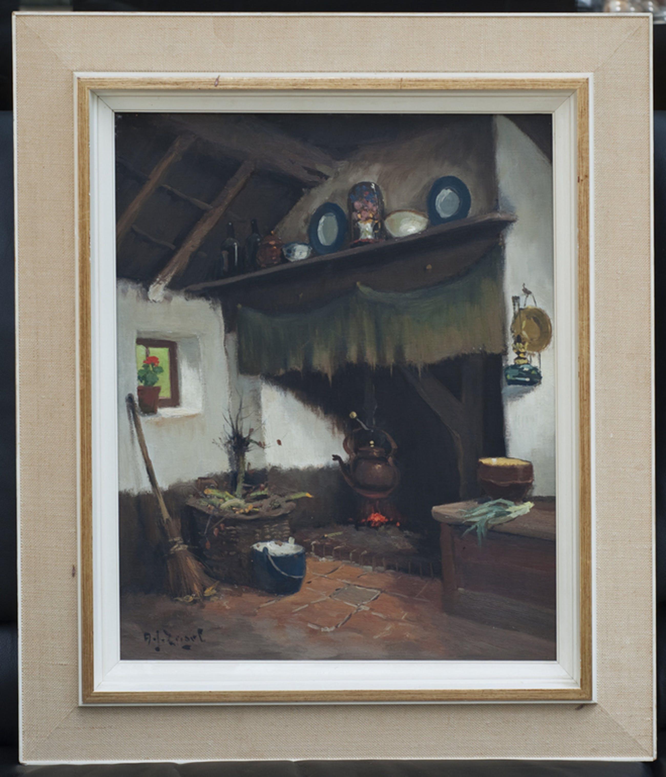 A.J. Zwart | 1903-1983, Interieur te Lage Mierde - olieverf op doek - gesigneerd kopen? Bied vanaf 350!