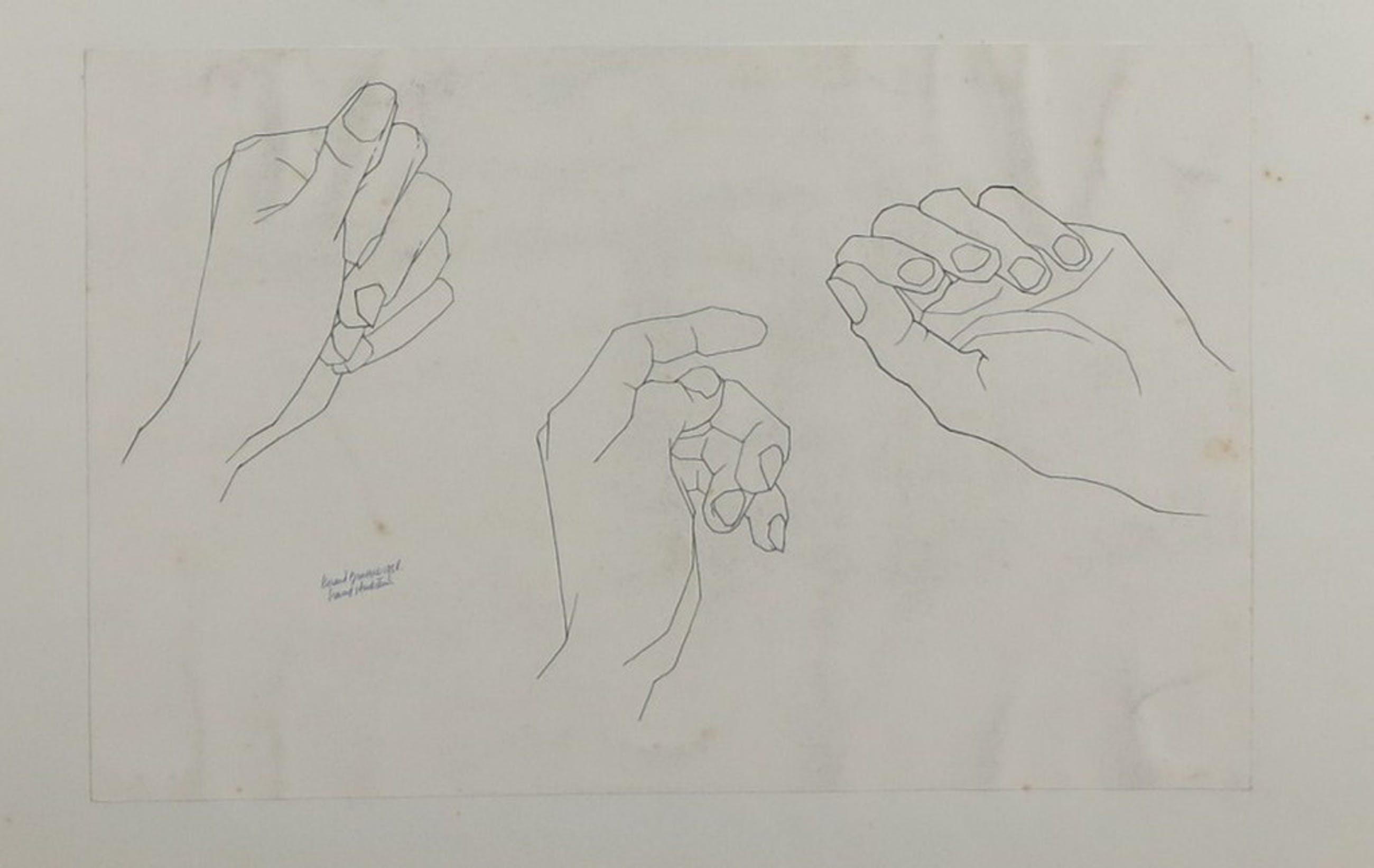 Gerard Brussee: 3 Inkt en potloodtekeningen, Handstudien  kopen? Bied vanaf 1!