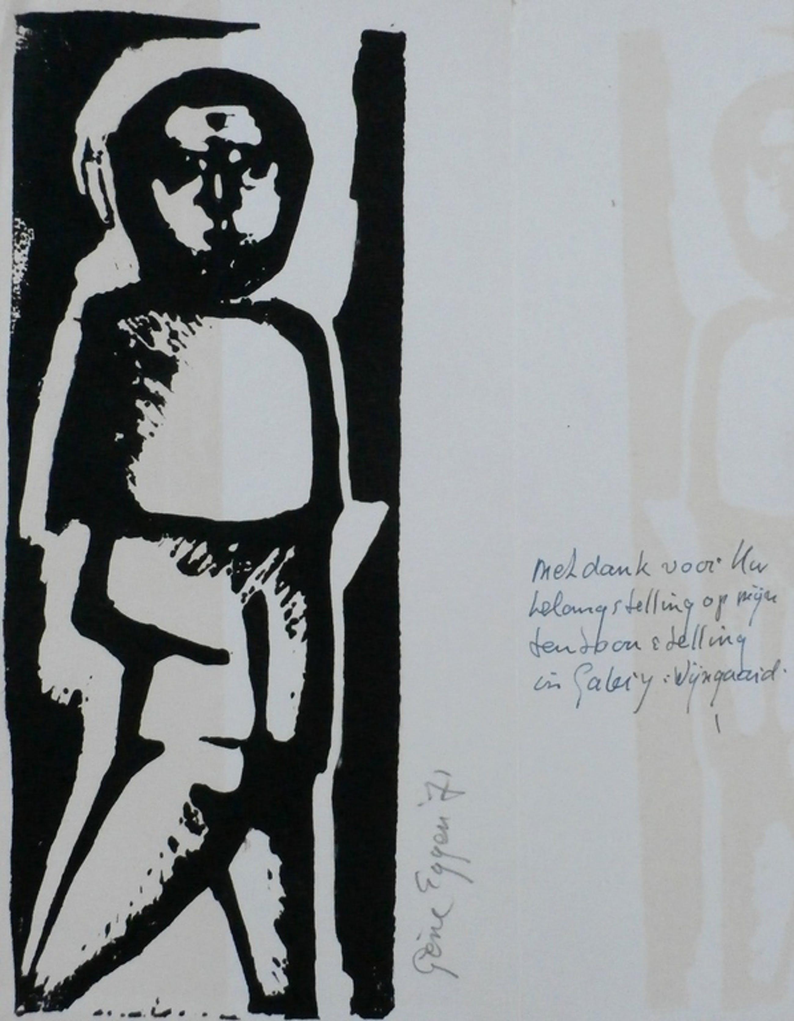 Gene Eggen - Houtsnede: tentoonstelling in galerie Wijngaard - 1971 kopen? Bied vanaf 40!