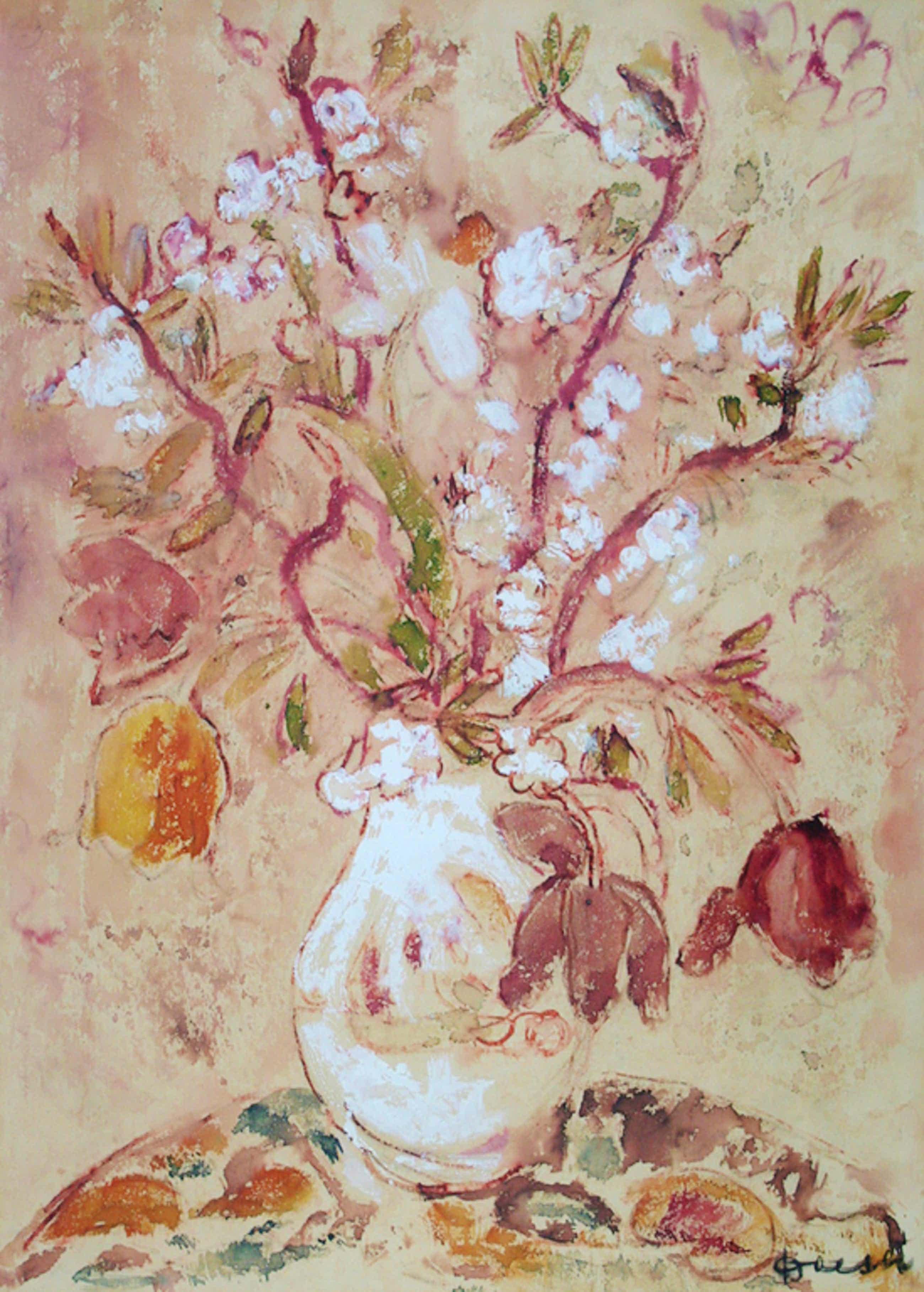 Jac. Doeser, aquarel (met wit gehoogd), vaas met bloemen kopen? Bied vanaf 300!