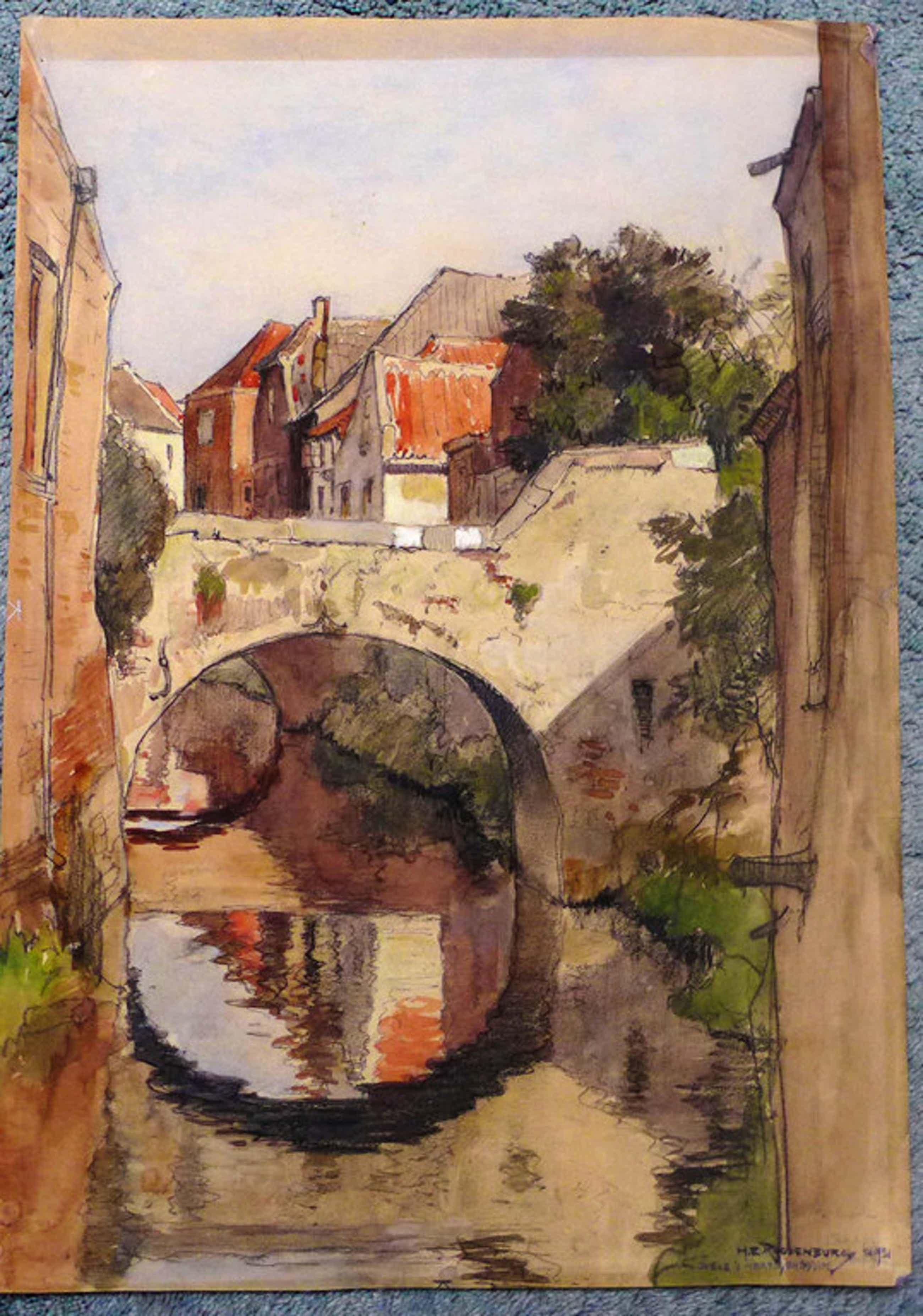 H.E. Roodenburg (1895 - 1987) aquarel uit 1931  voorstelende de DIEZE te s-Herto kopen? Bied vanaf 95!