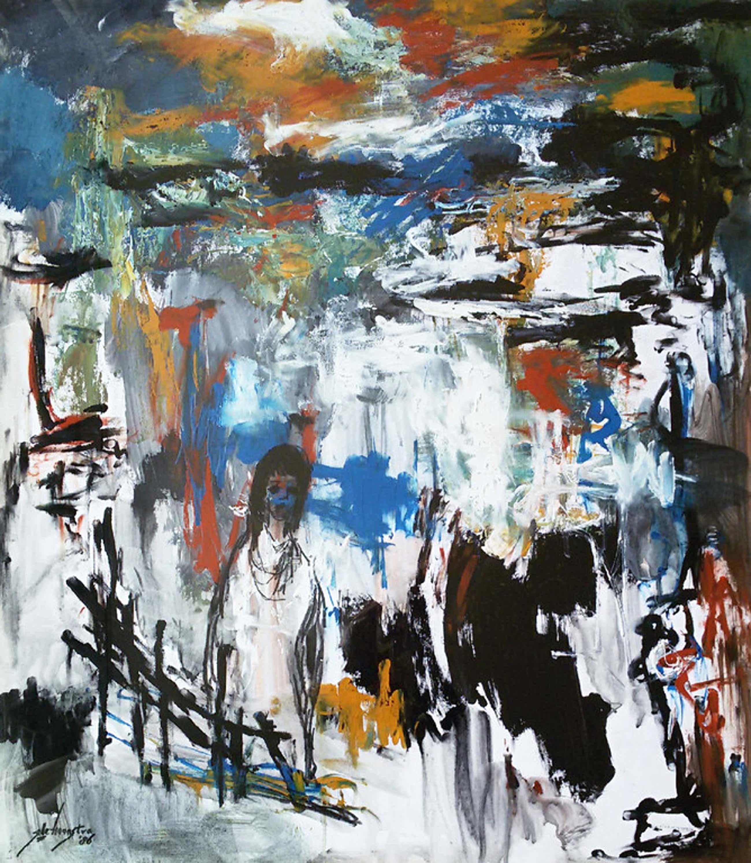 Jelle Hoogstra - Vrouw in expressionistisch landschap, gouache (mooi ingelijst) kopen? Bied vanaf 150!